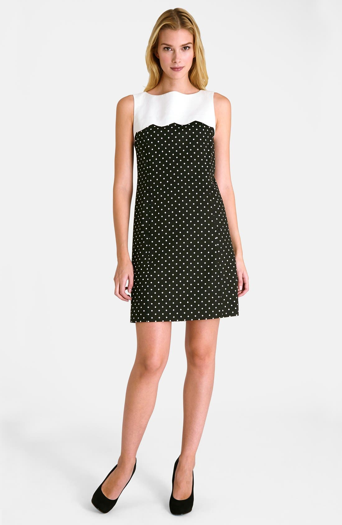 Alternate Image 3  - Tahari Polka Dot Shift Dress (Petite)