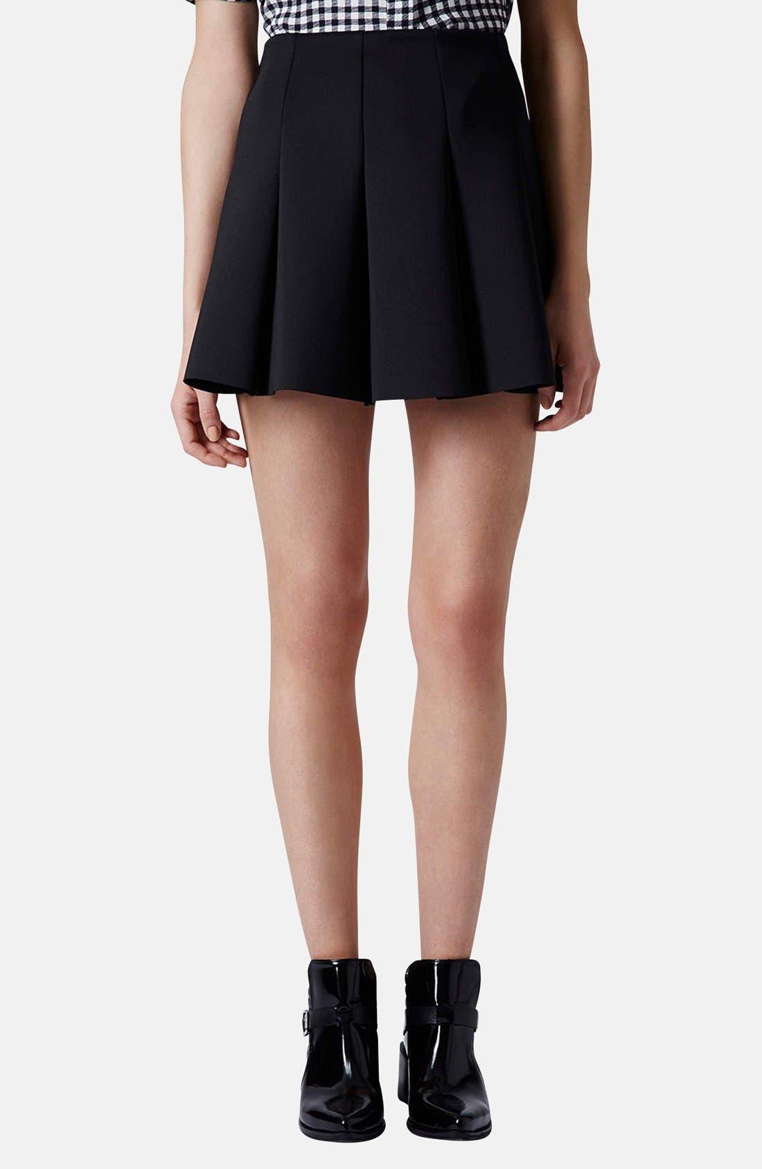 Main Image - Topshop Pleat Scuba Skirt (Petite)