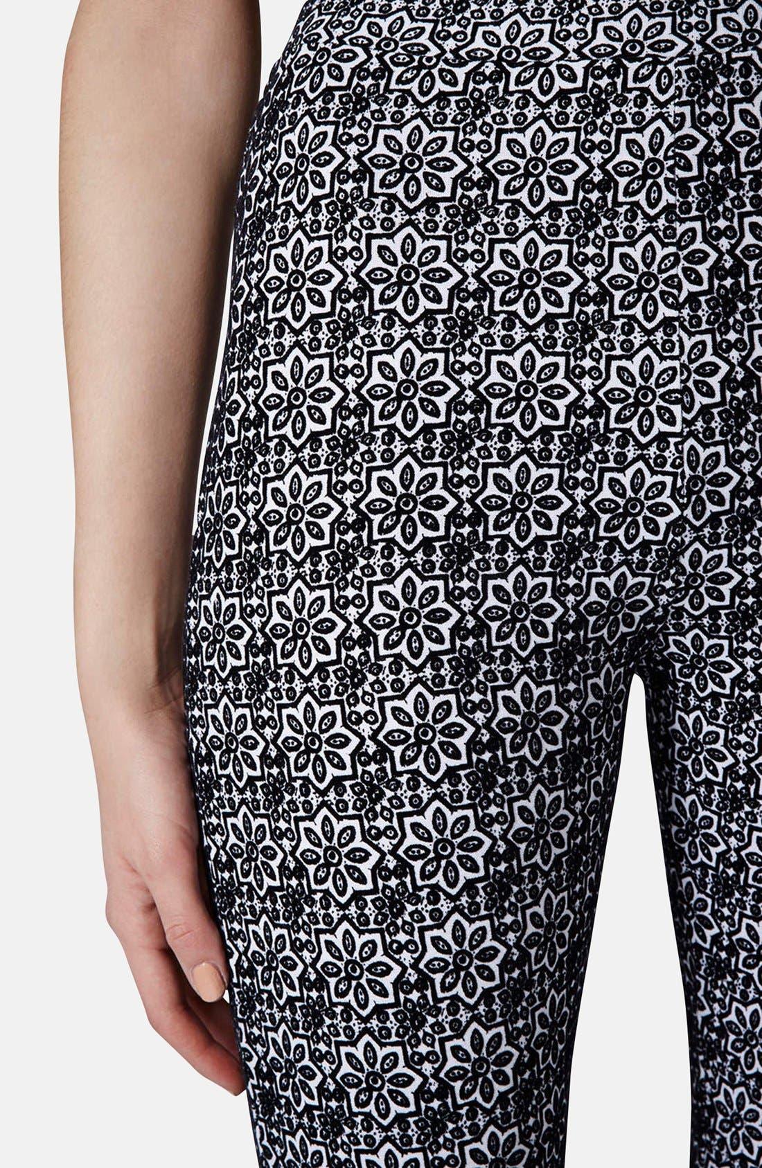 Alternate Image 4  - Topshop Tile Print Flocked Leggings