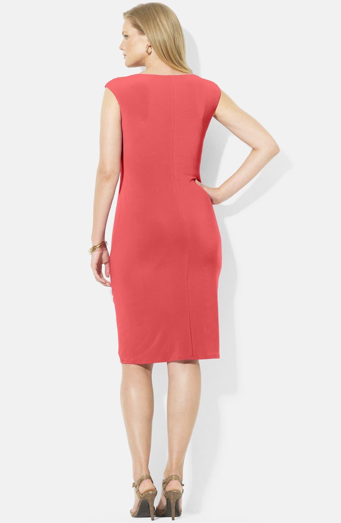 Alternate Image 2  - Lauren Ralph Lauren Cowl Neck Jersey Dress (Plus Size)