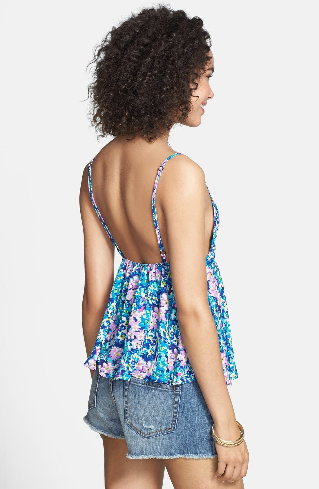 Alternate Image 2  - Haute Society Floral Print Lattice Detail Tank (Juniors)