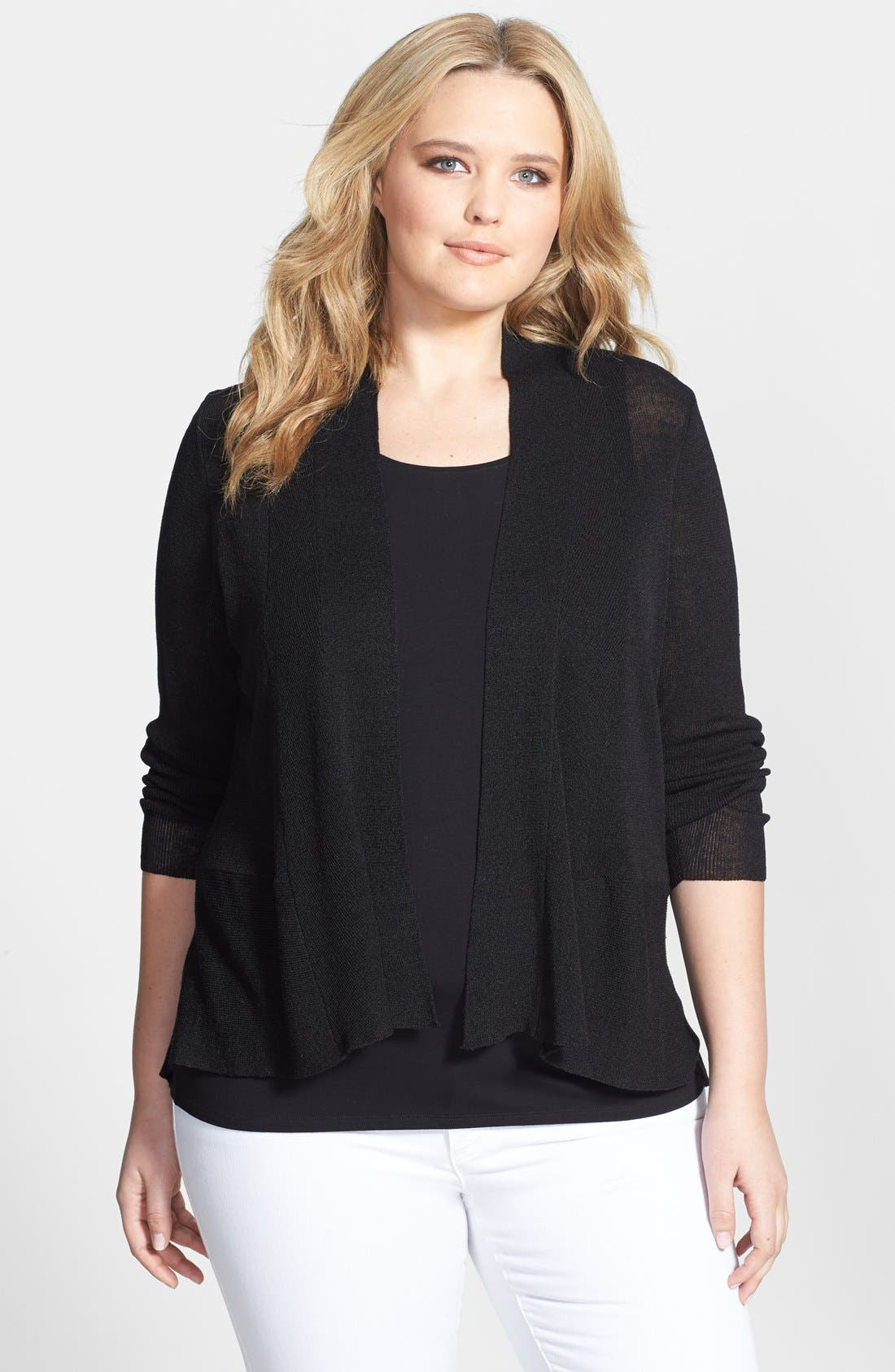 Alternate Image 1 Selected - Eileen Fisher Straight Cut Linen Blend Cardigan (Plus Size)