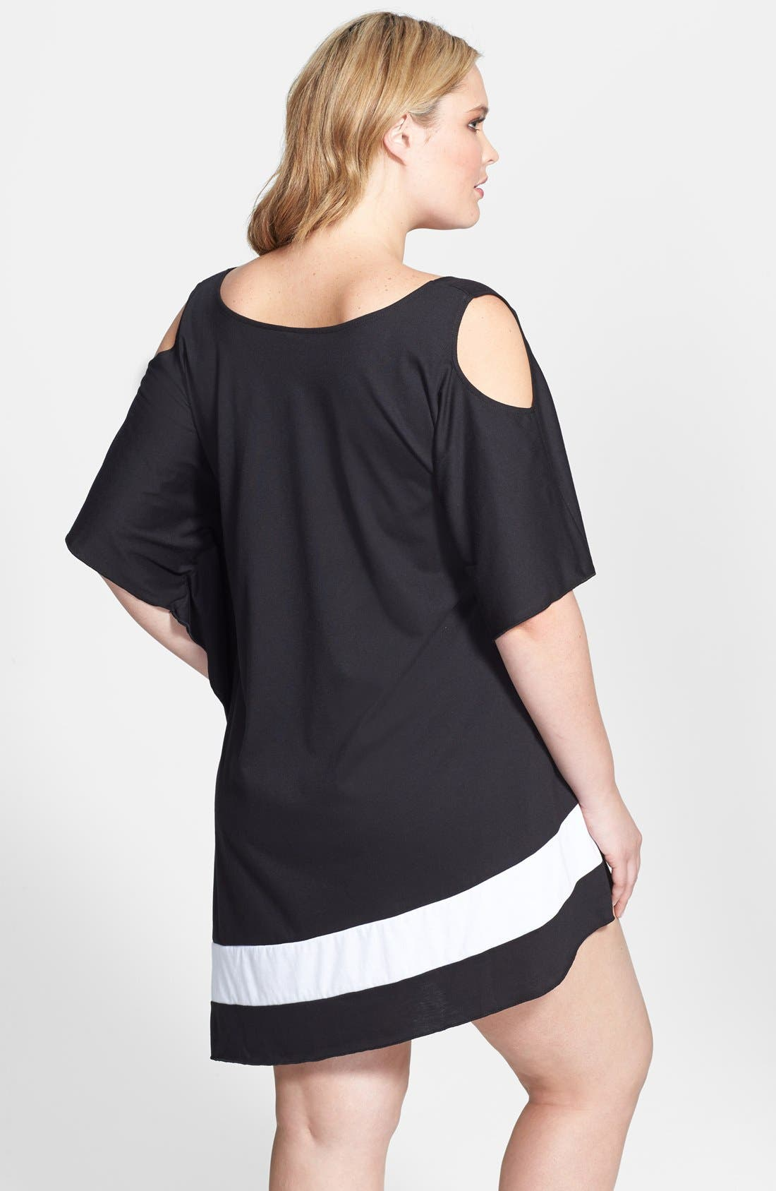 Alternate Image 2  - Becca Etc. 'Day & Night' Cutout Shoulder Asymmetrical Cover-Up Dress (Plus Size)