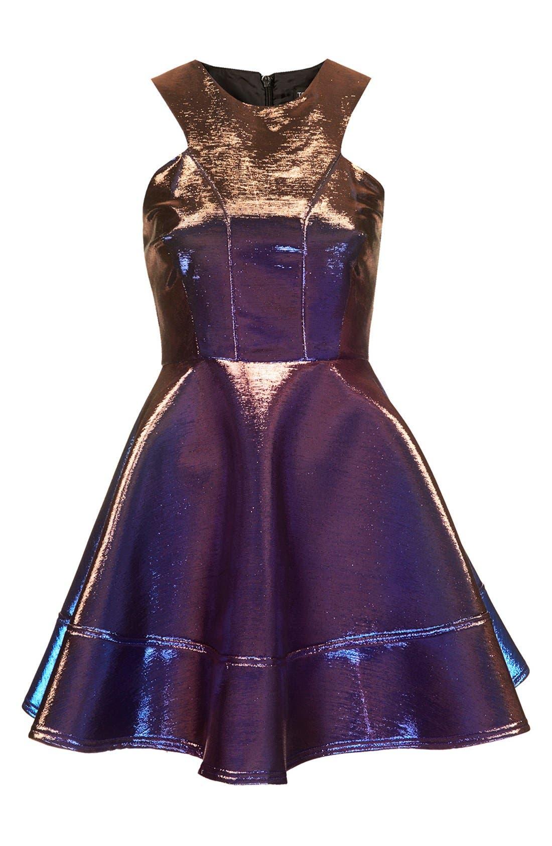 Alternate Image 3  - Topshop Metallic Skater Dress