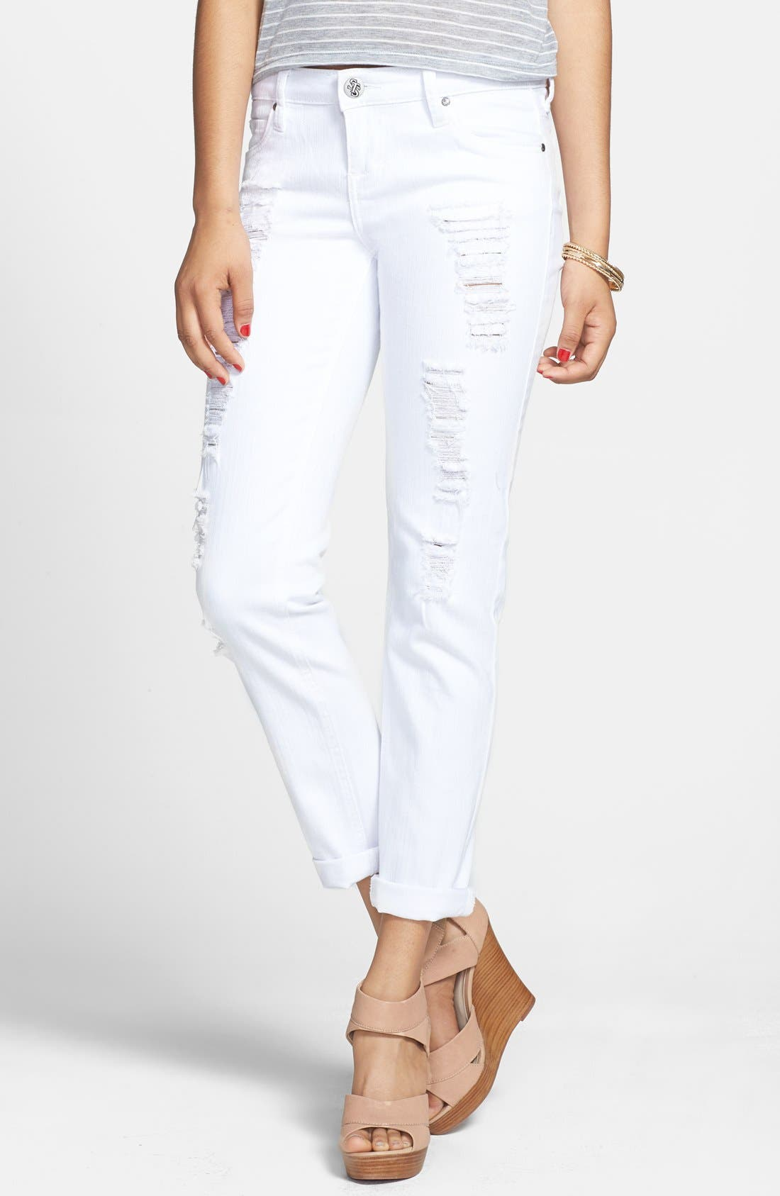 Alternate Image 1 Selected - STS Blue Destroyed Slim Boyfriend Jeans (White) (Juniors)