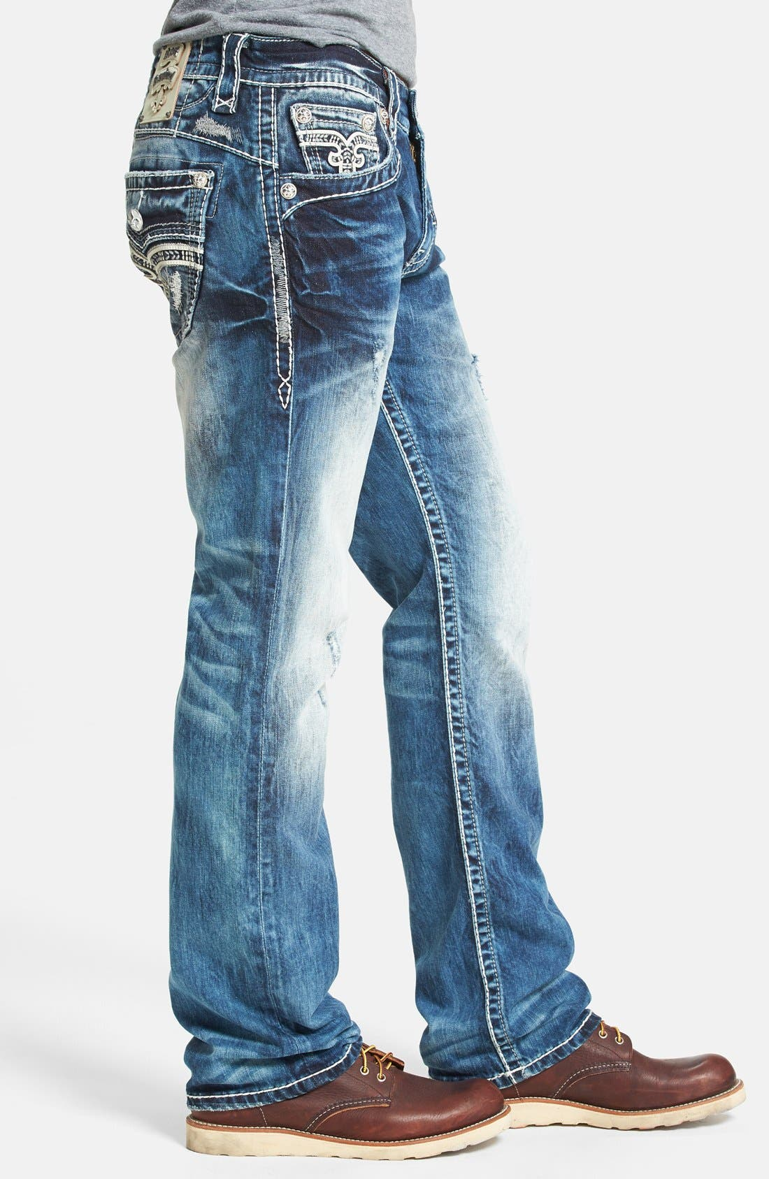 Alternate Image 3  - Rock Revival 'Earl' Straight Leg Jeans (Medium Blue)
