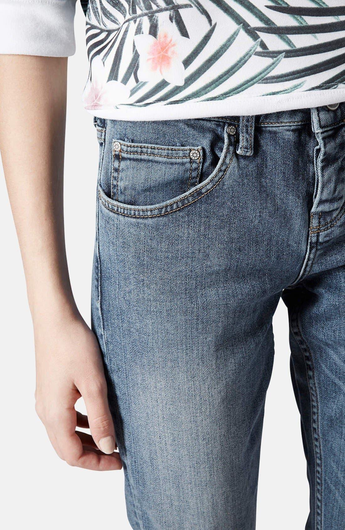 Alternate Image 3  - Topshop Moto 'Rita' Distressed Skinny Jeans (Mid Denim) (Short)