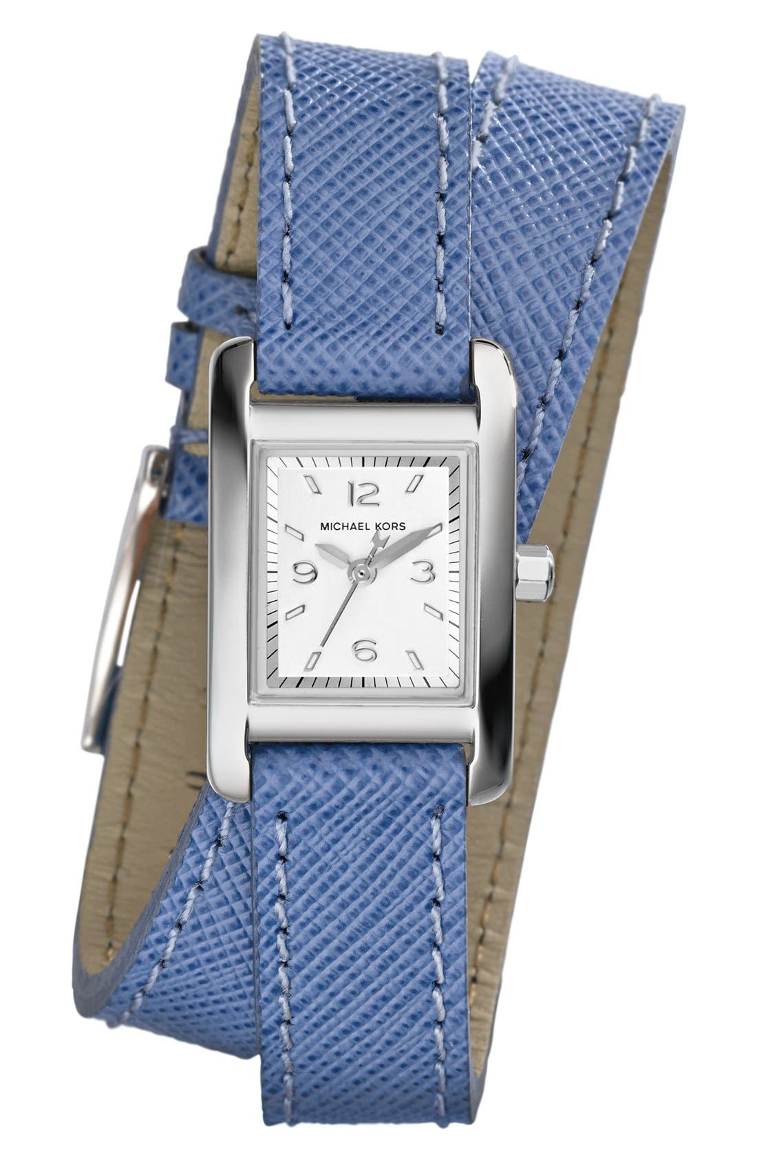 Alternate Image 1 Selected - Michael Kors 'Mini Taylor' Rectangle Leather Strap Wrap Watch, 22mm