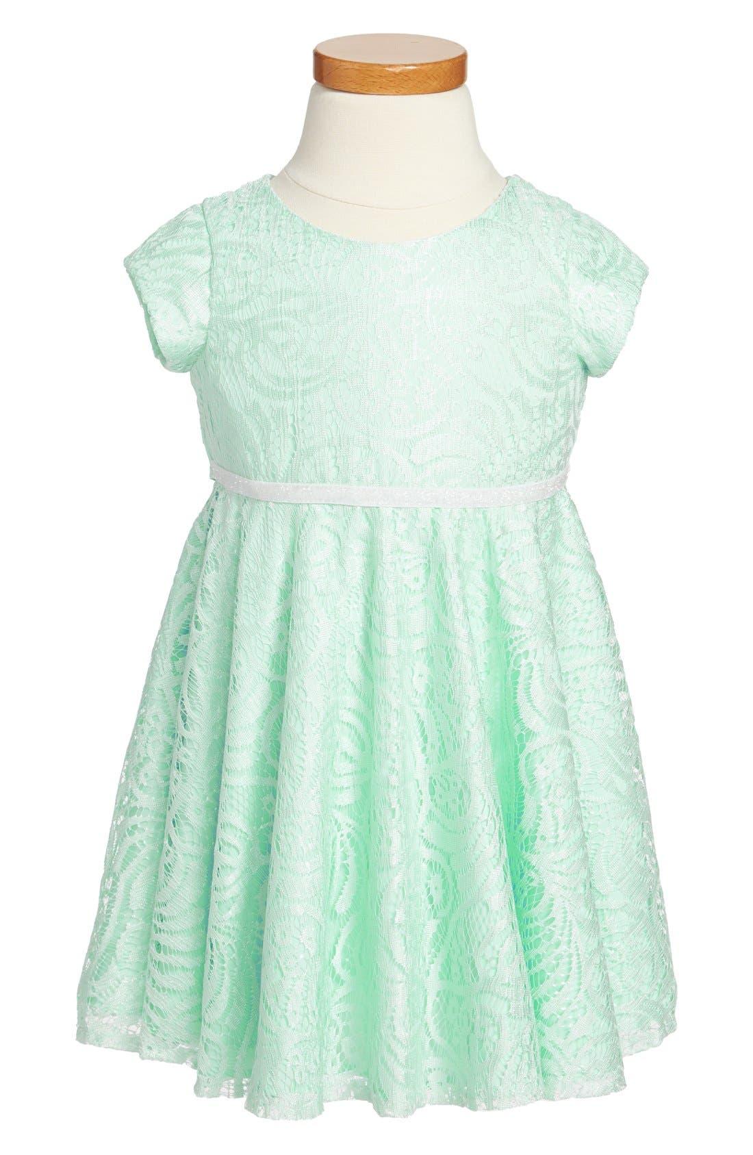 Main Image - Pippa & Julie Lace Skater Dress (Toddler Girls)