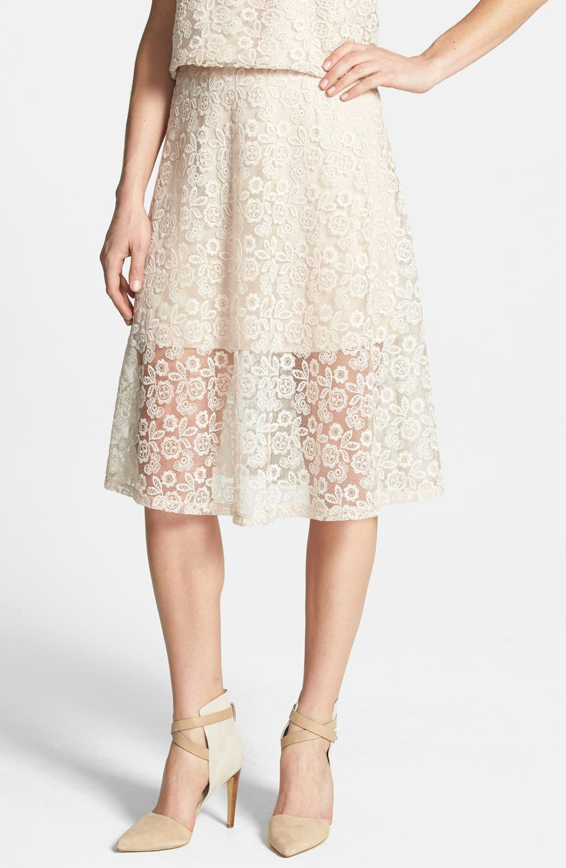 Alternate Image 1 Selected - Wayf Embroidered Lace A-Line Skirt
