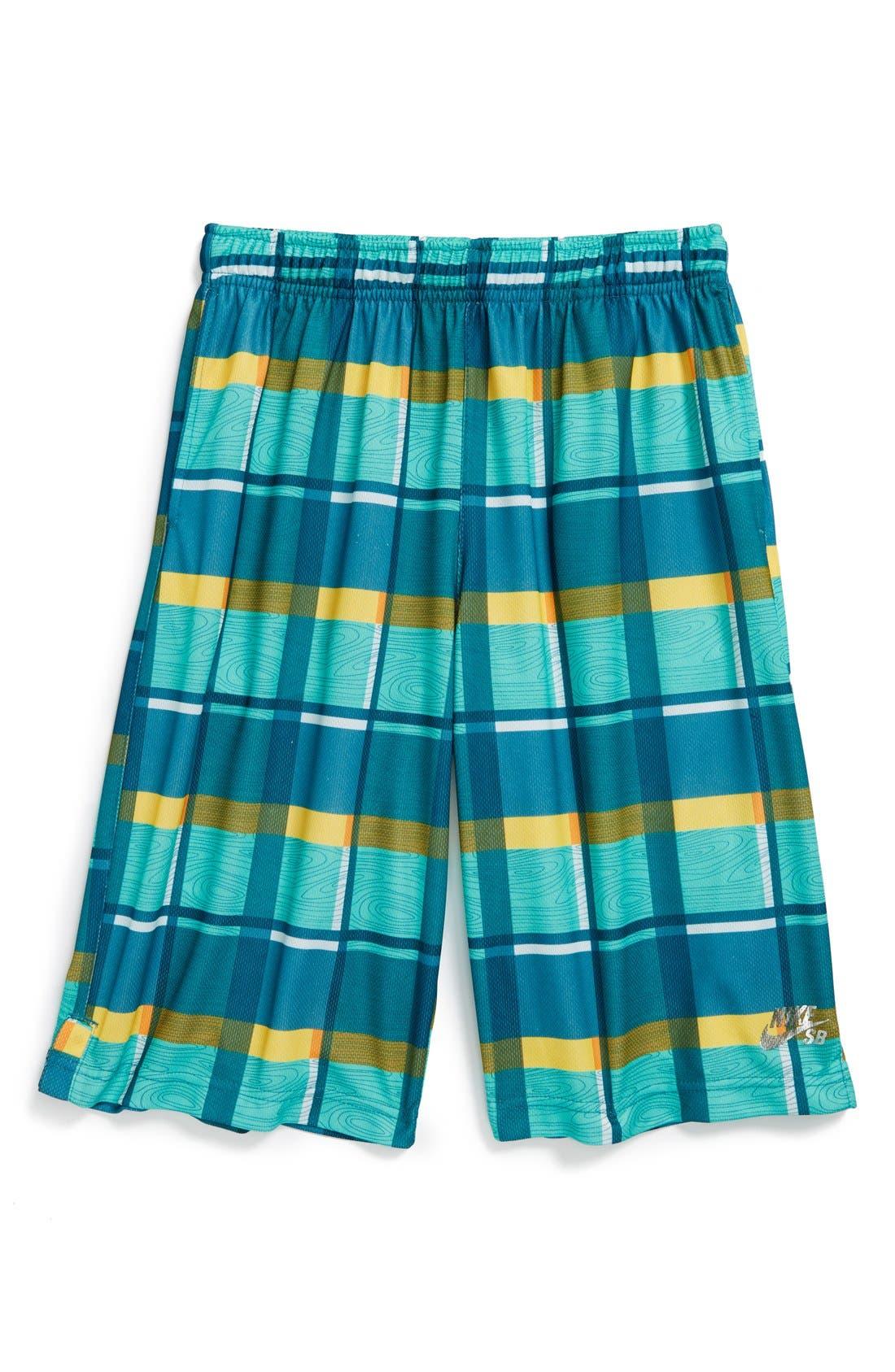Alternate Image 1 Selected - Nike 'SB Woodgrain Plaid' Mesh Shorts (Big Boys)