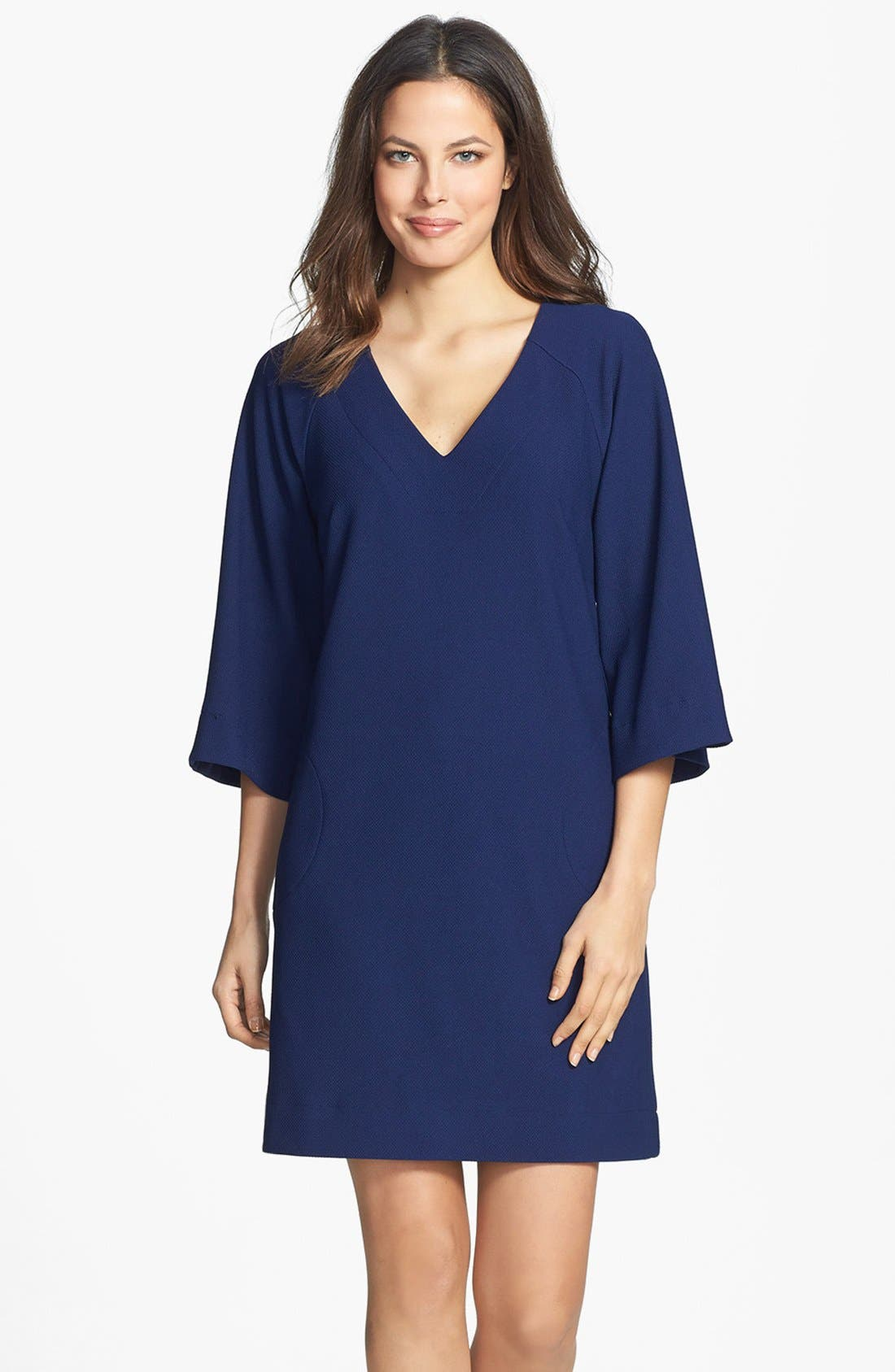 Main Image - Donna Ricco Ottoman Piqué Shift Dress