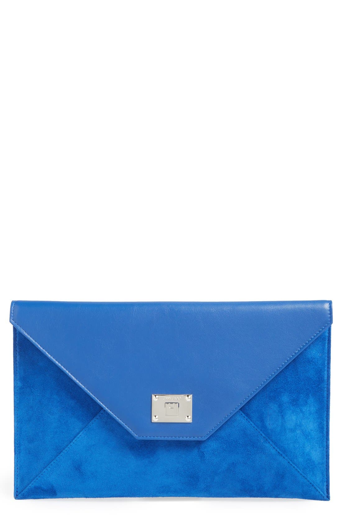 Alternate Image 1 Selected - Jimmy Choo 'Rosetta' Leather & Suede Clutch