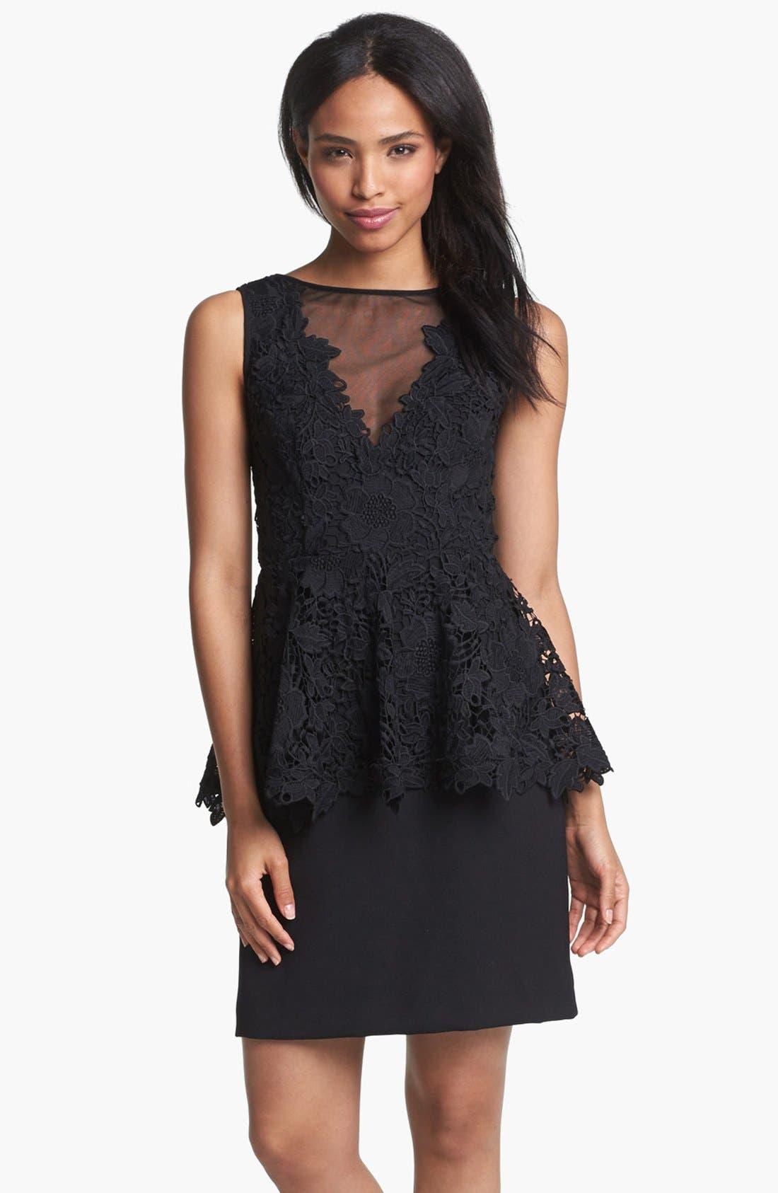Main Image - Betsy & Adam Lace Peplum Dress