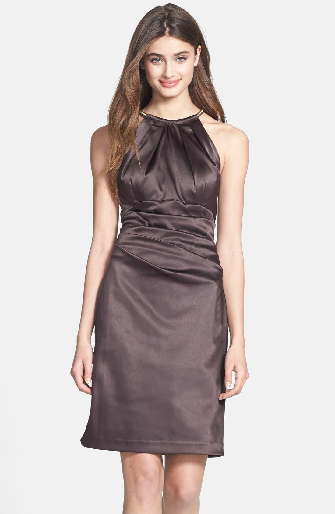 Main Image - Eliza J Pleated Satin Sheath Dress
