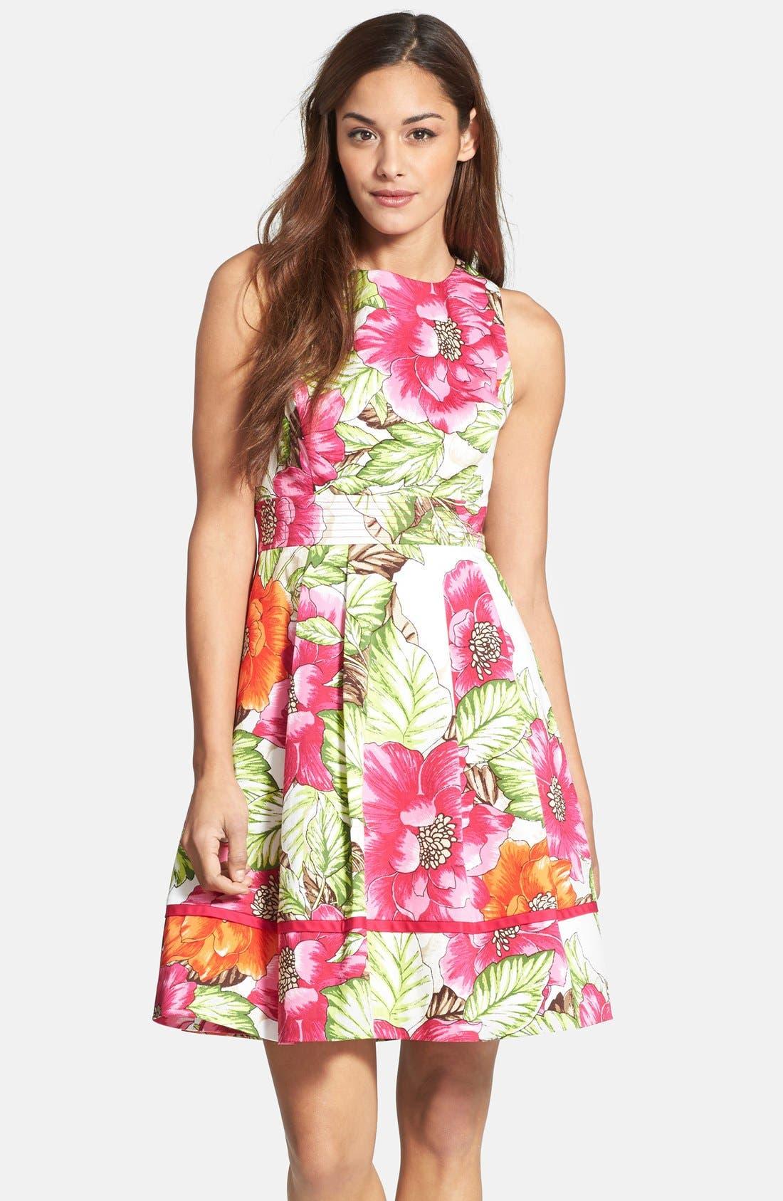 Main Image - Eliza J Floral Print Cotton Sateen Fit & Flare Dress