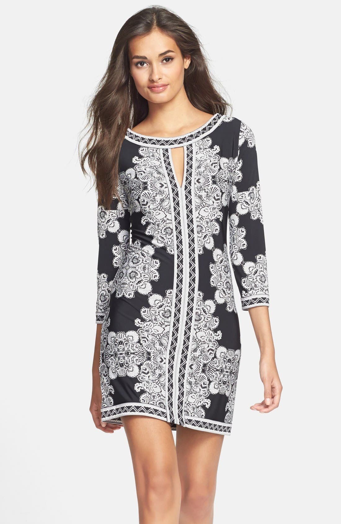 Main Image - BCBGMAXAZRIA Placed Print Jersey Shift Dress