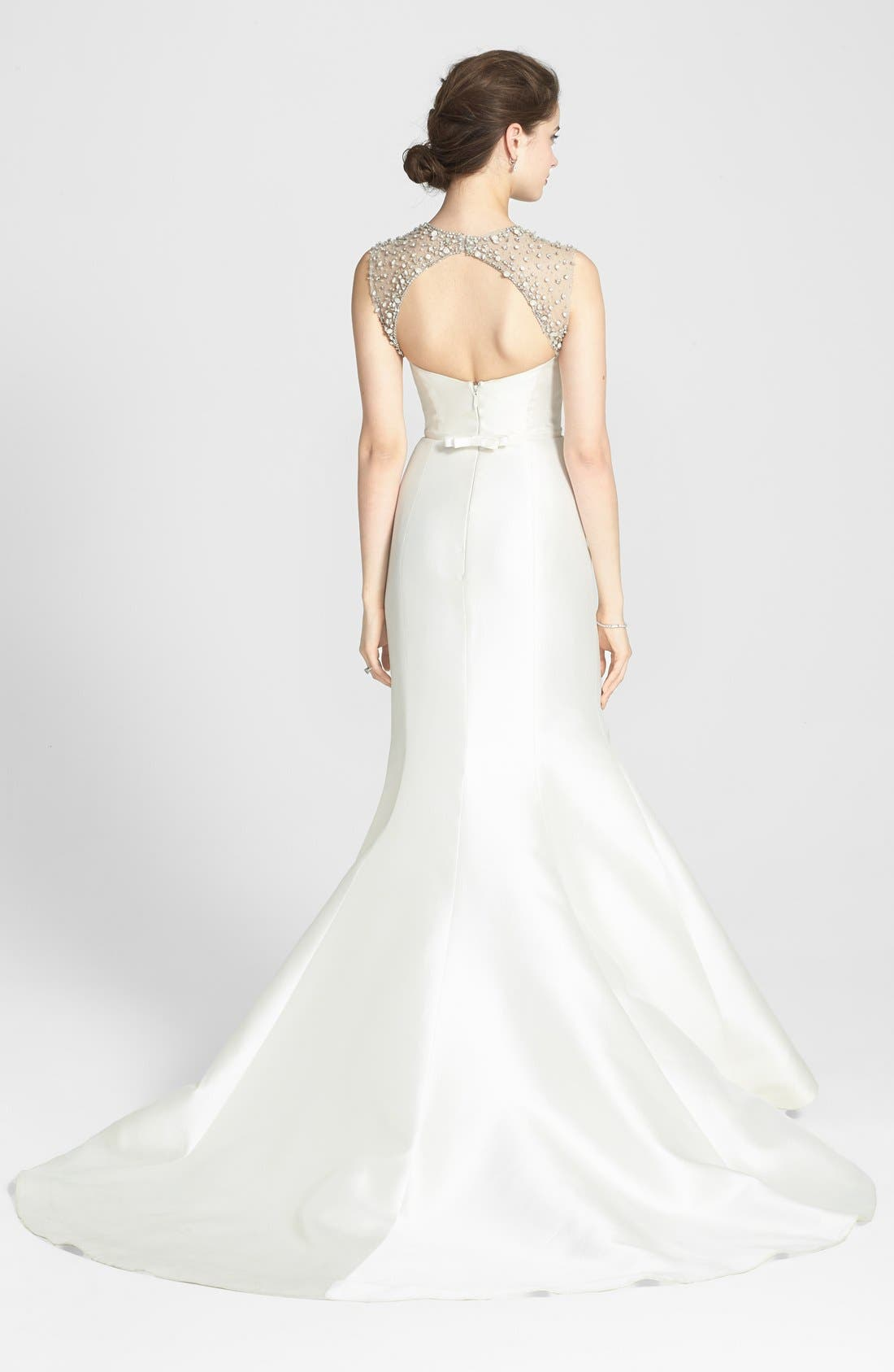 Alternate Image 2  - Amsale 'Lenox' Beaded Illusion Strap Silk Blend Trumpet Dress (In Stores Only)
