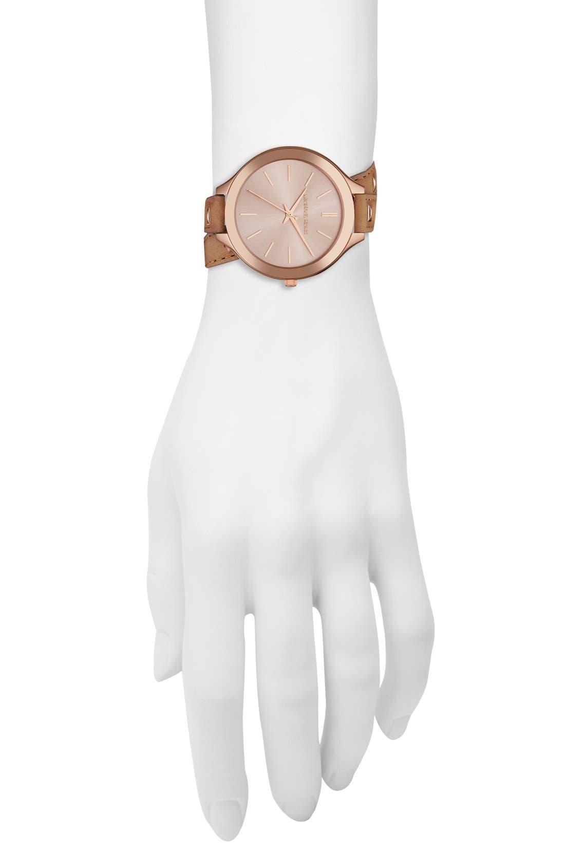 Alternate Image 2  - Michael Kors 'Slim Runway' Double Wrap Leather Strap Watch, 42mm