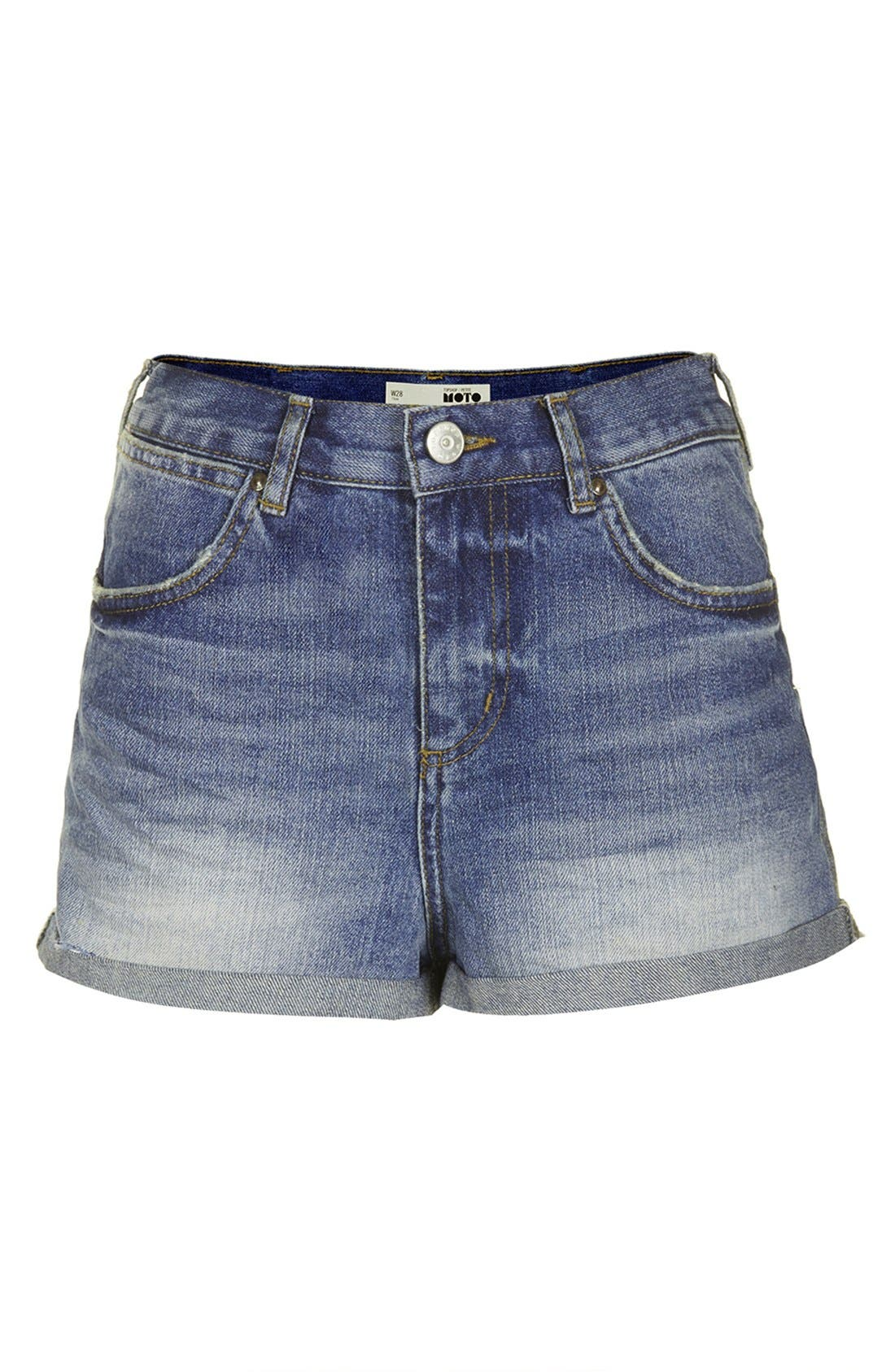 Alternate Image 3  - Topshop 'Rosa' High Rise Denim Shorts (Mid) (Petite)