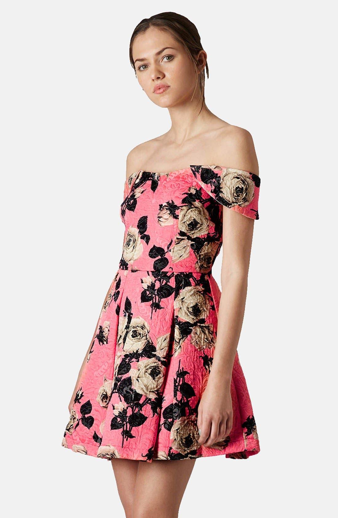Main Image - Topshop 'Bardot' Textured Floral Off Shoulder Fit & Flare Dress