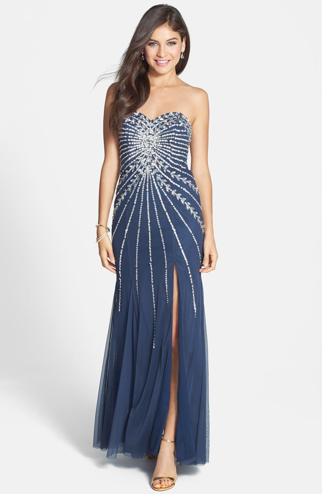 Main Image - Sean Collection Embellished Strapless Mesh Gown