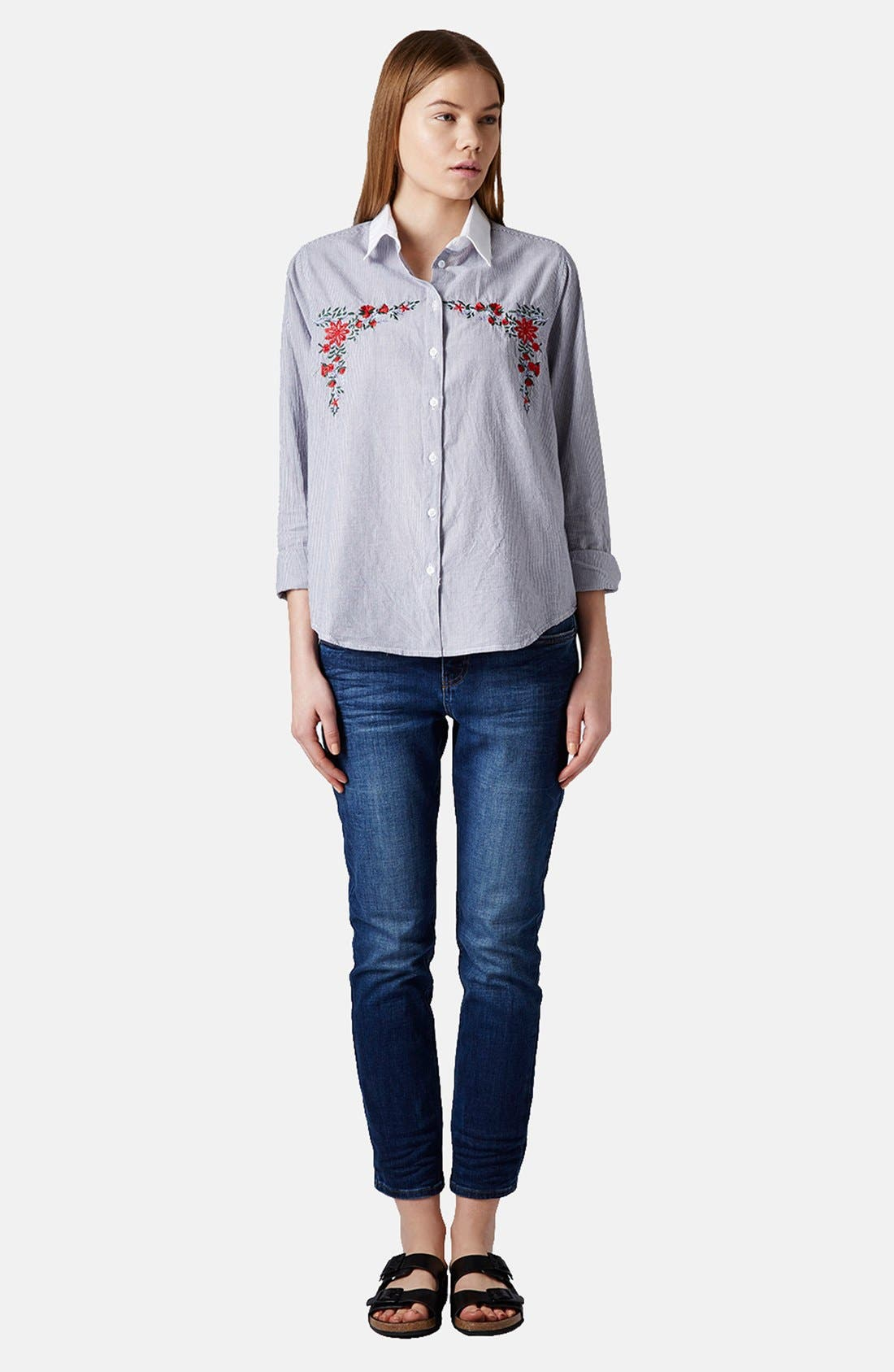 Alternate Image 5  - Topshop Embroidered Cotton Shirt