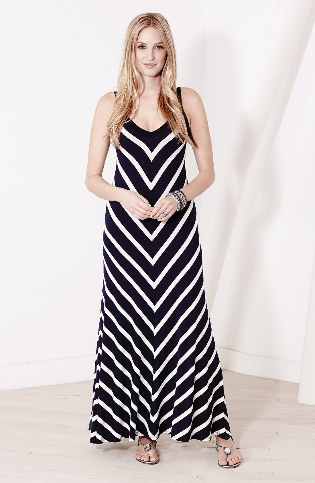 Alternate Image 3  - Karen Kane Mitered Stripe Maxi Dress
