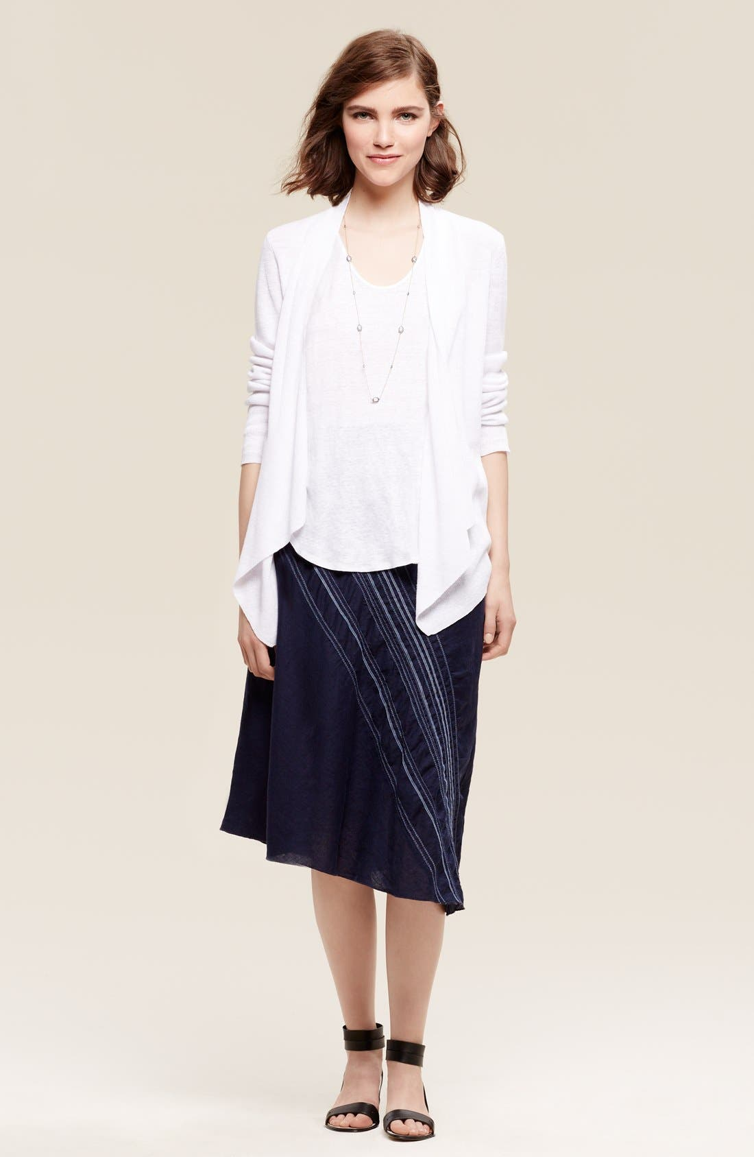 Alternate Image 2  - Eileen Fisher Organic Linen Angle Front Cardigan (Regular & Petite)