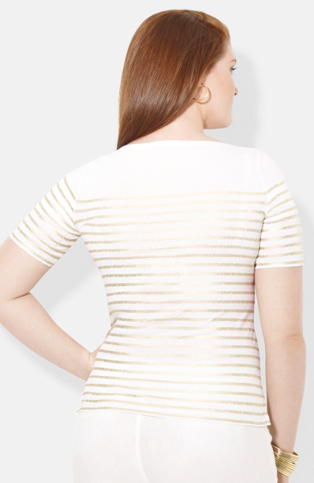 Alternate Image 2  - Lauren Ralph Lauren Stripe Cotton Top (Plus Size)