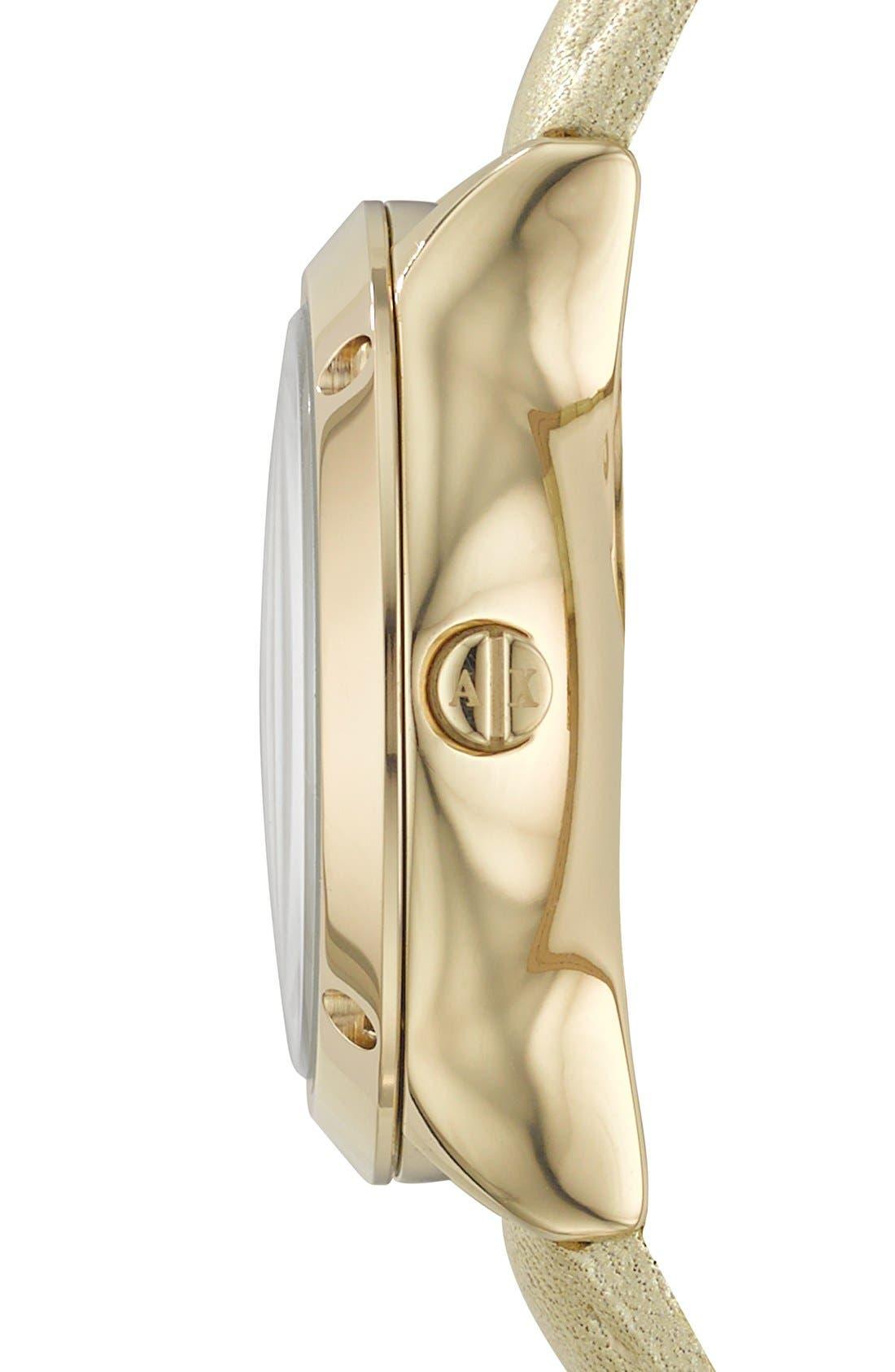 Alternate Image 3  - AX Armani Exchange Round Leather Strap Watch, 30mm