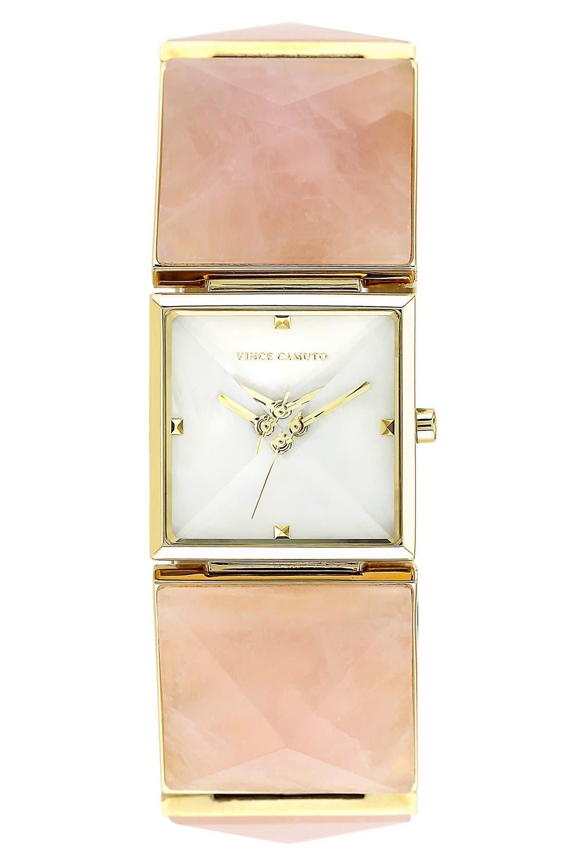 Alternate Image 1 Selected - Vince Camuto Pyramidal Stone Bracelet Watch, 26mm