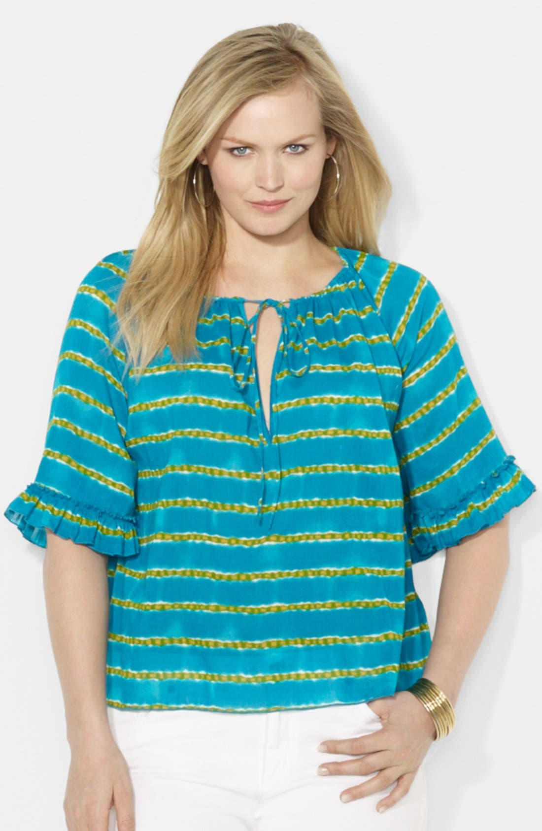 Main Image - Lauren Ralph Lauren Striped Cotton Peasant Top (Plus Size)