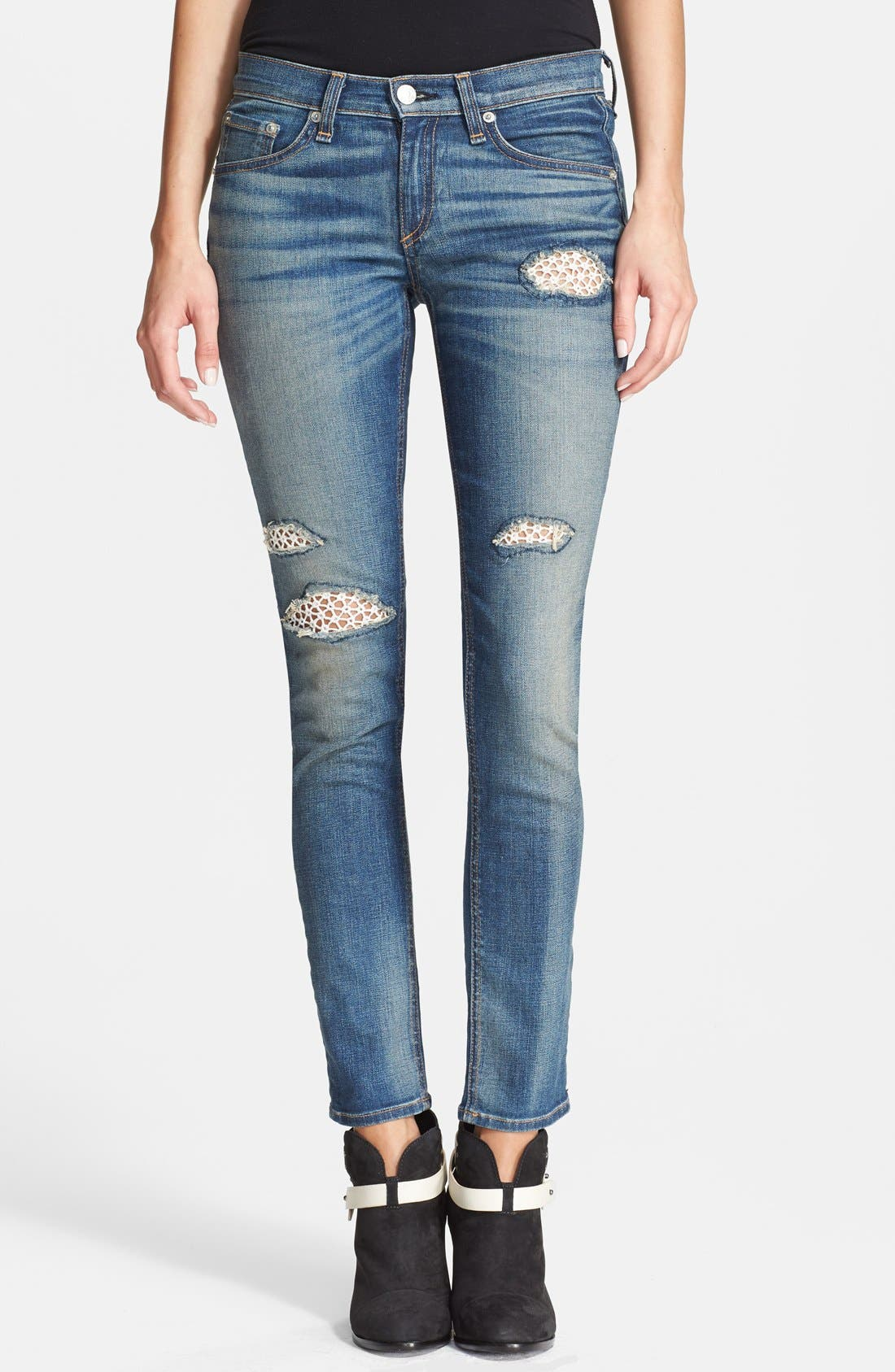 Main Image - rag & bone/JEAN Stretch Skinny Jeans (Crochet Lace)