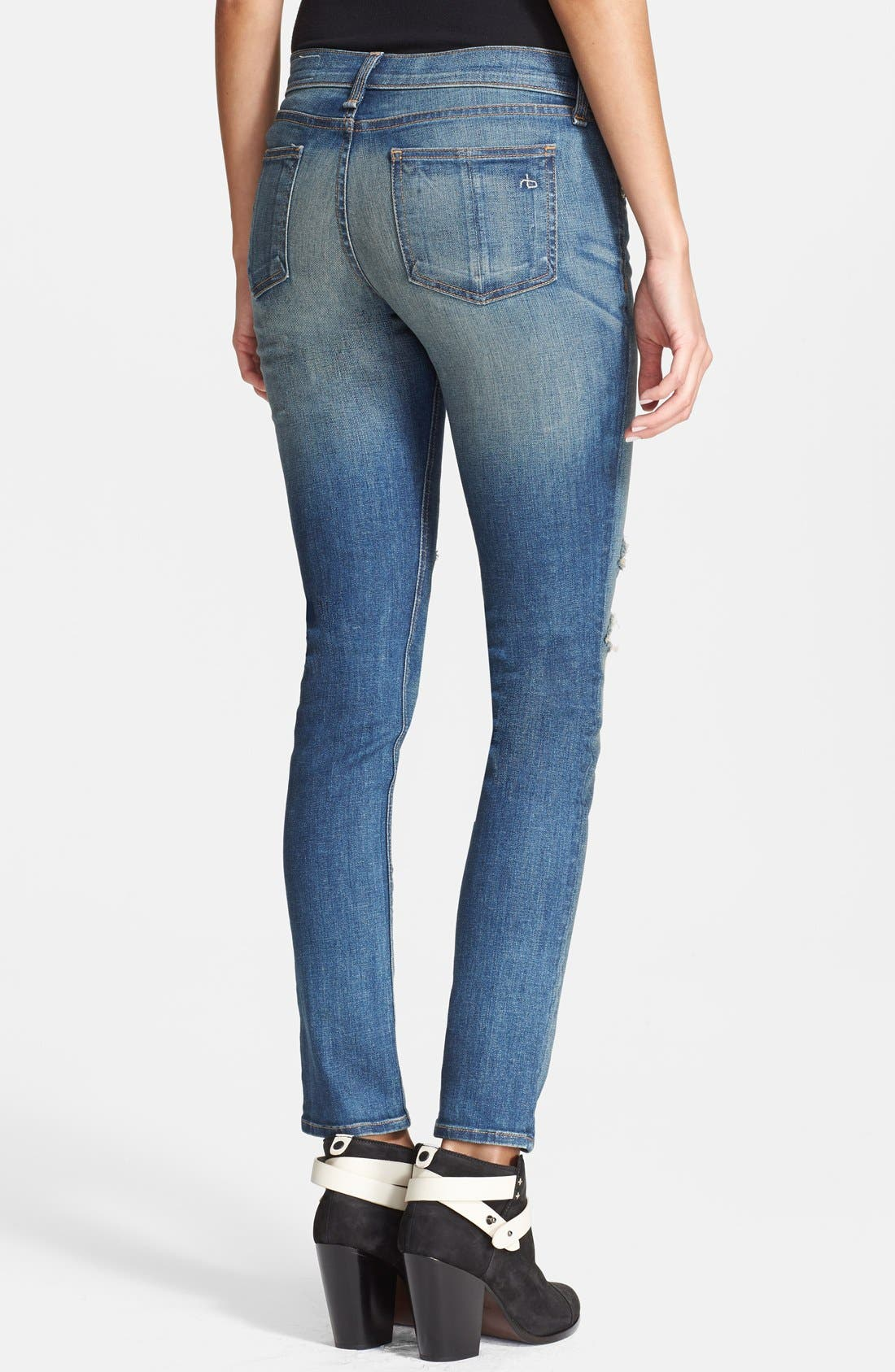 Alternate Image 2  - rag & bone/JEAN Stretch Skinny Jeans (Crochet Lace)