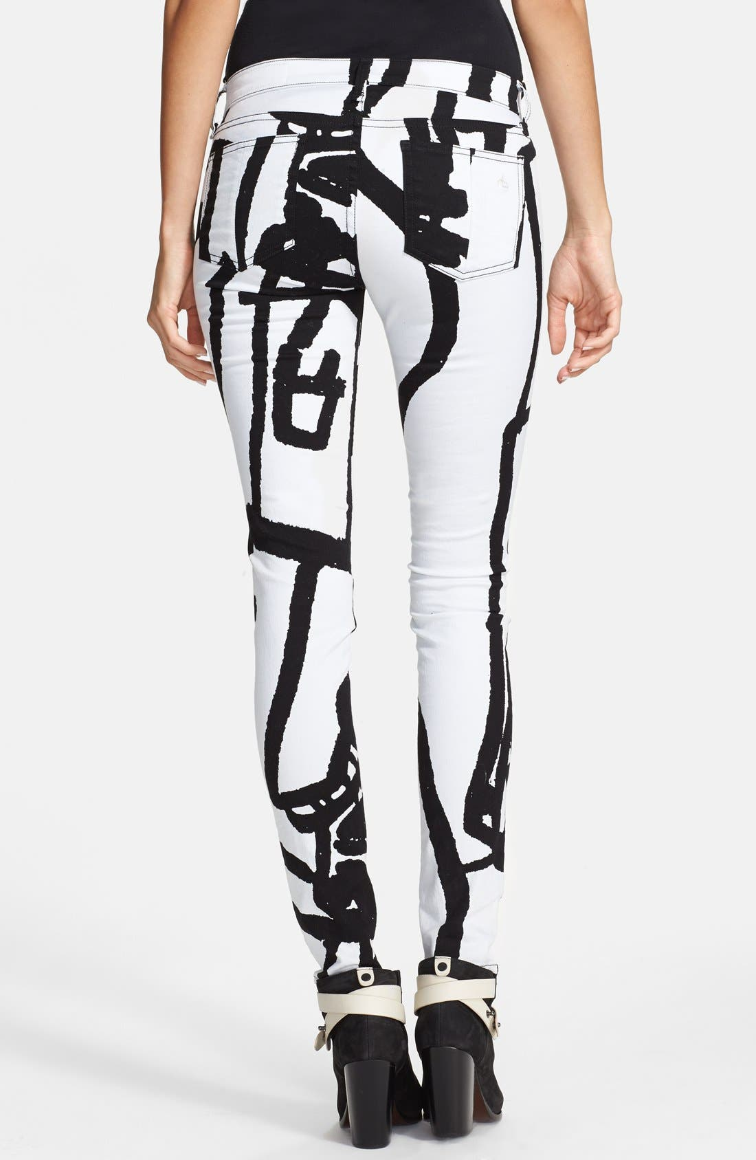 Alternate Image 2  - rag & bone/JEAN 'The Legging' Graphic Print Skinny Jeans (White Robot)