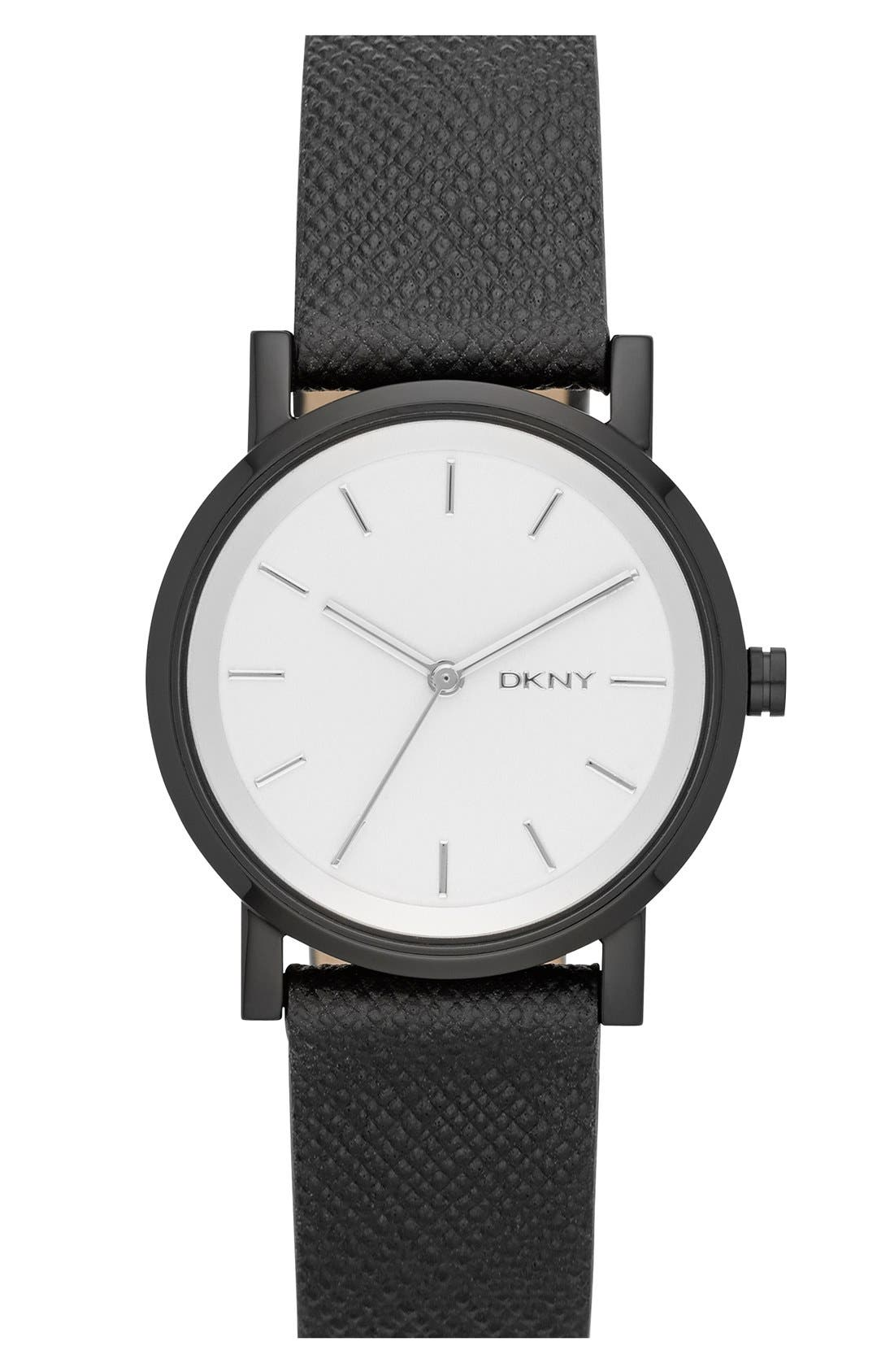 Main Image - DKNY 'Soho' Round Leather Strap Watch, 34mm