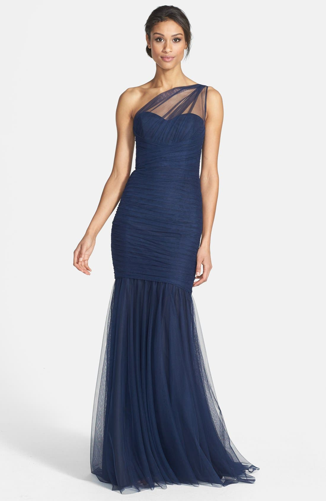 Alternate Image 1 Selected - Amsale One-Shoulder Tulle Mermaid Gown