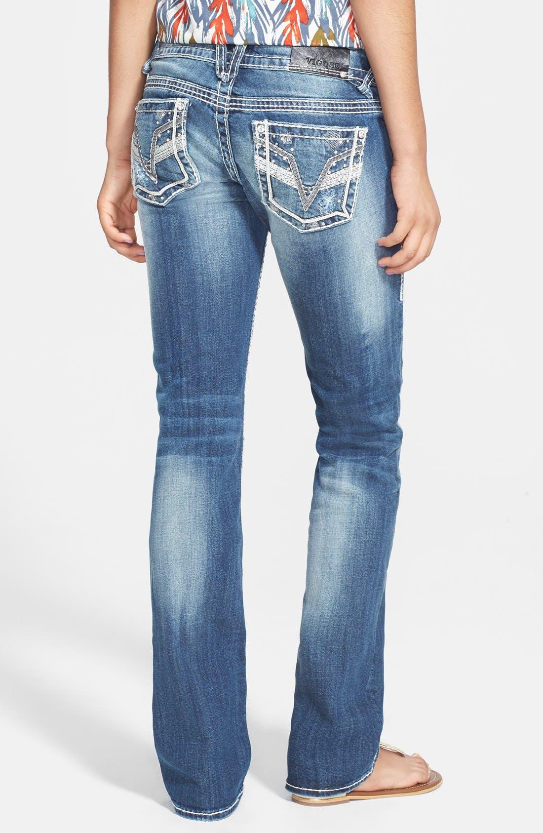 Alternate Image 1 Selected - Vigoss Embellished Bootcut Jeans (Medium) (Juniors)