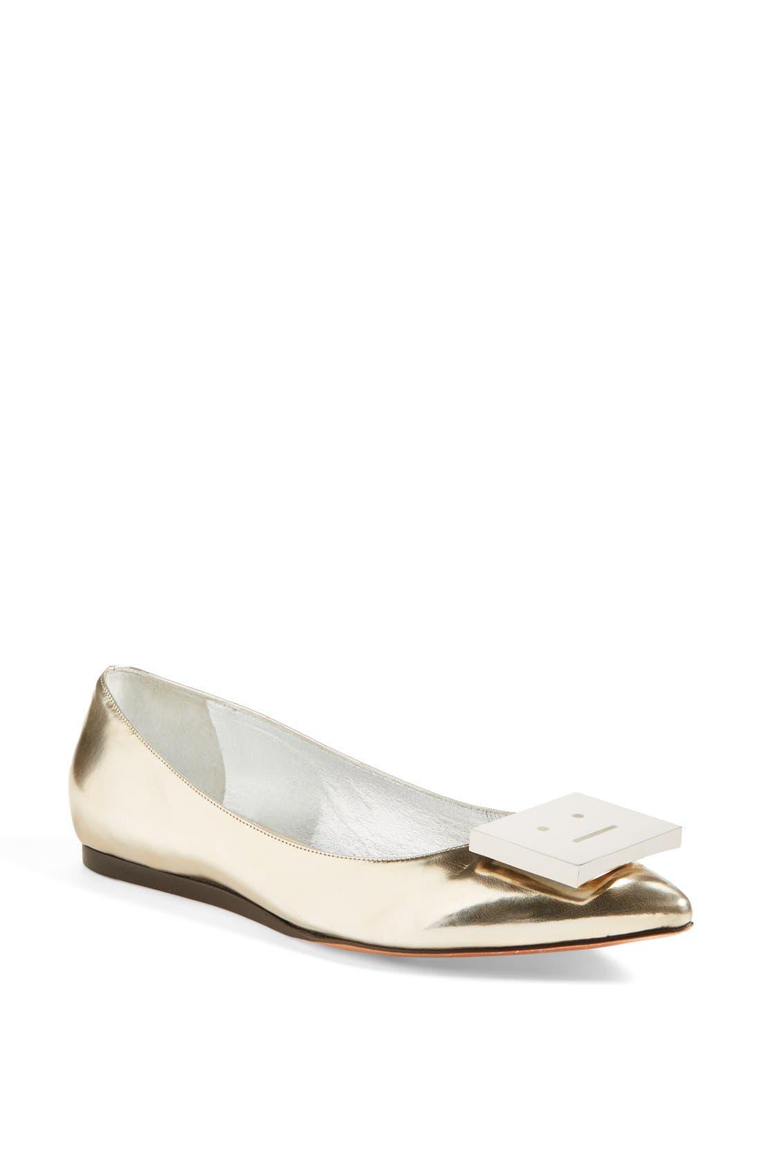 Main Image - Acne Studios 'Aida' Pointy Toe Metallic Leather Flat