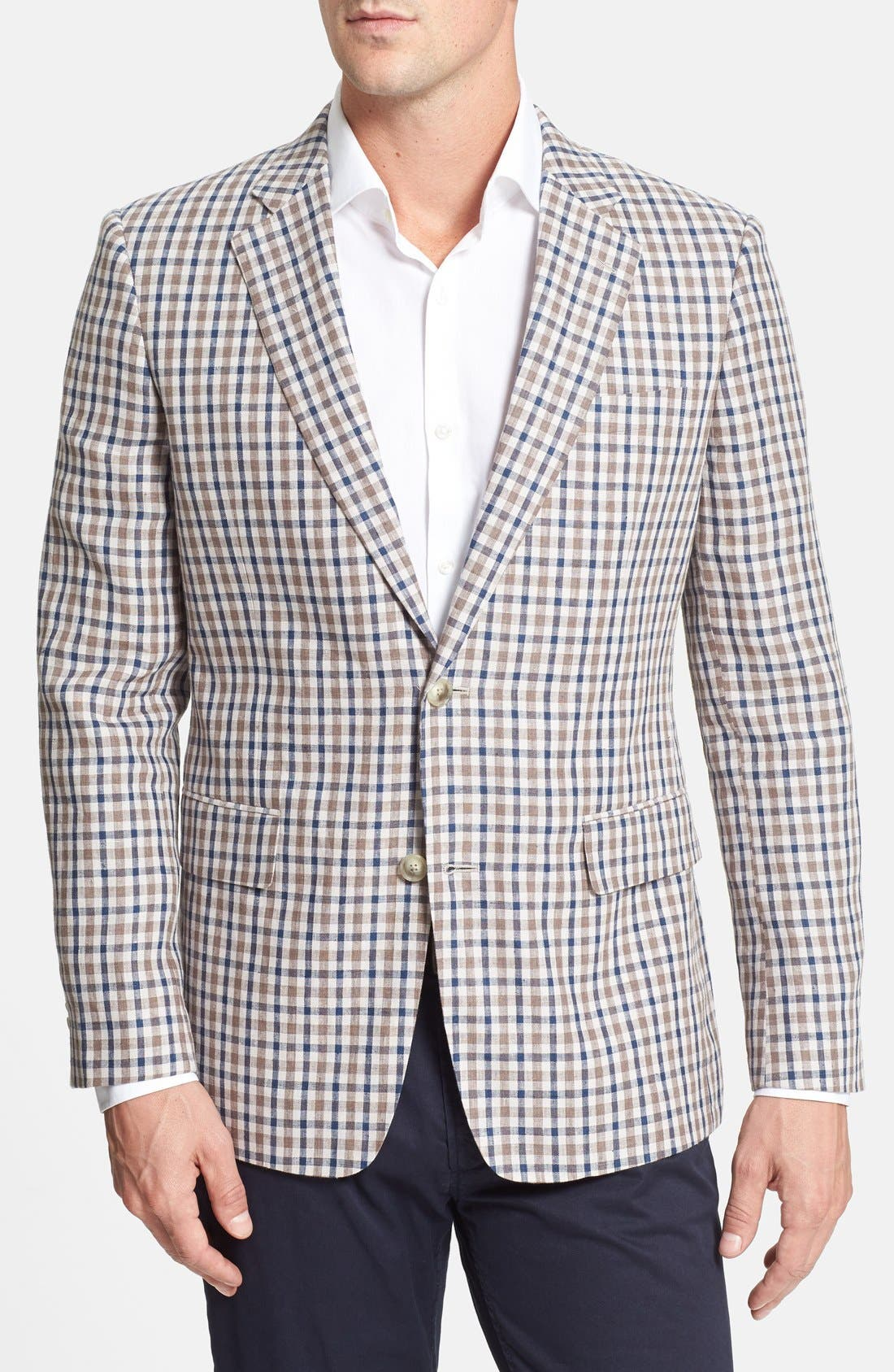 Alternate Image 1 Selected - Nordstrom Classic Fit Check Linen Sport Coat (Online Only)
