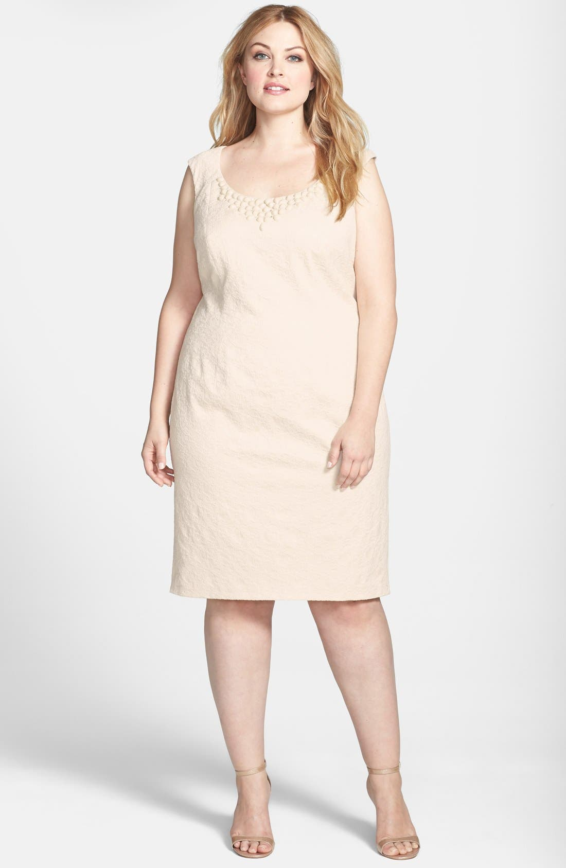 Alternate Image 1 Selected - Adrianna Papell Embellished Neckline Jacquard Sheath Dress (Plus Size)