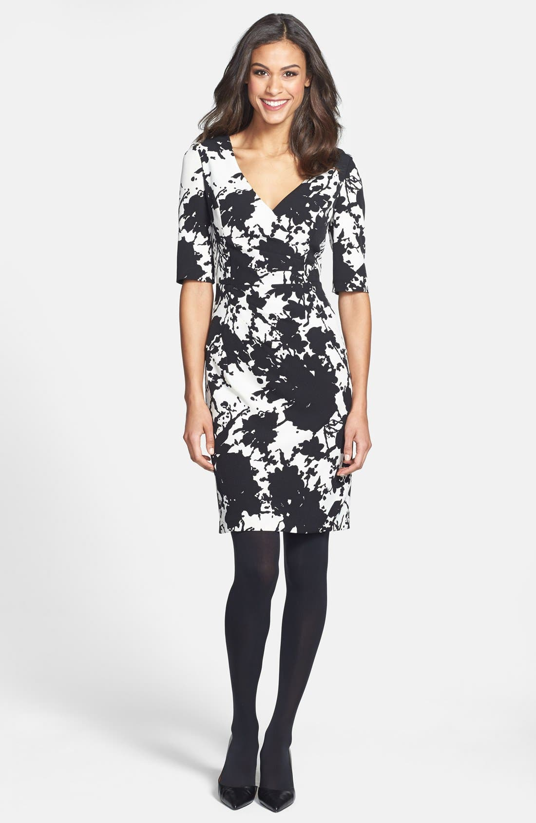 Alternate Image 3  - Adrianna Papell Floral Print Crepe Sheath Dress (Online Only)
