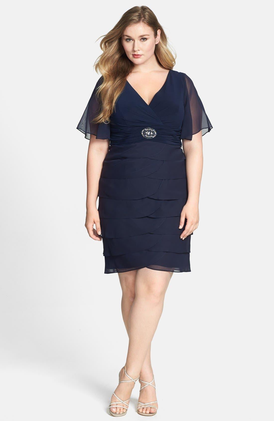 Main Image - Jessica Howard 'Artichoke' Flutter Sleeve Chiffon Dress (Plus Size)
