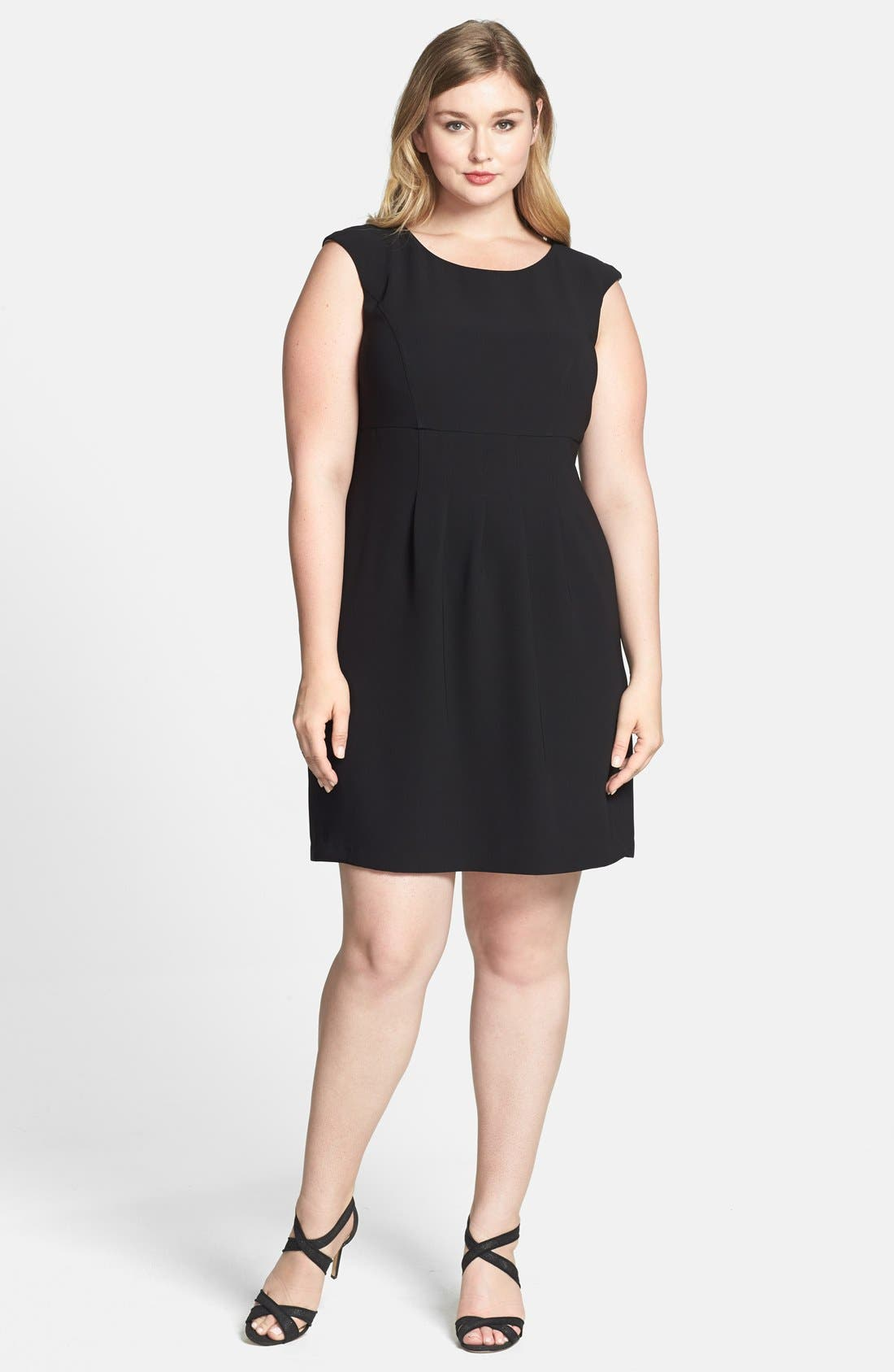 Main Image - Donna Ricco Stretch Crepe A-Line Dress (Plus Size)