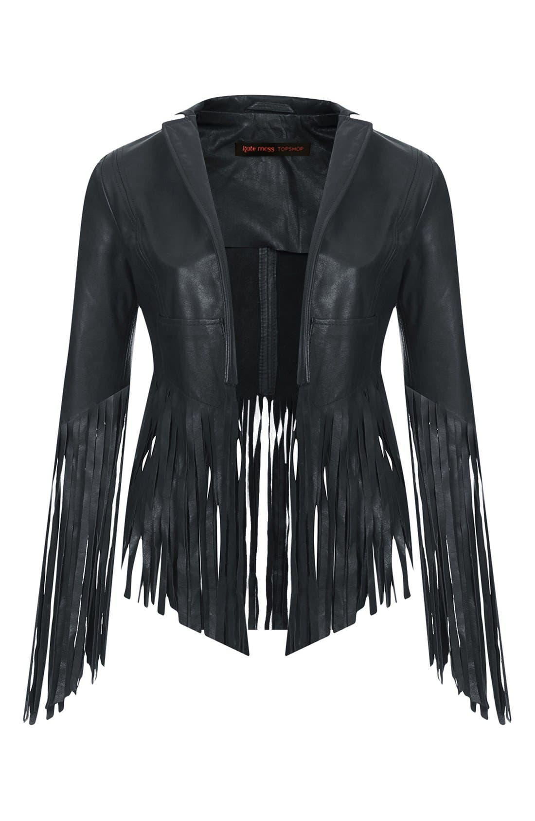 Alternate Image 3  - Kate Moss for Topshop Fringed Leather Jacket