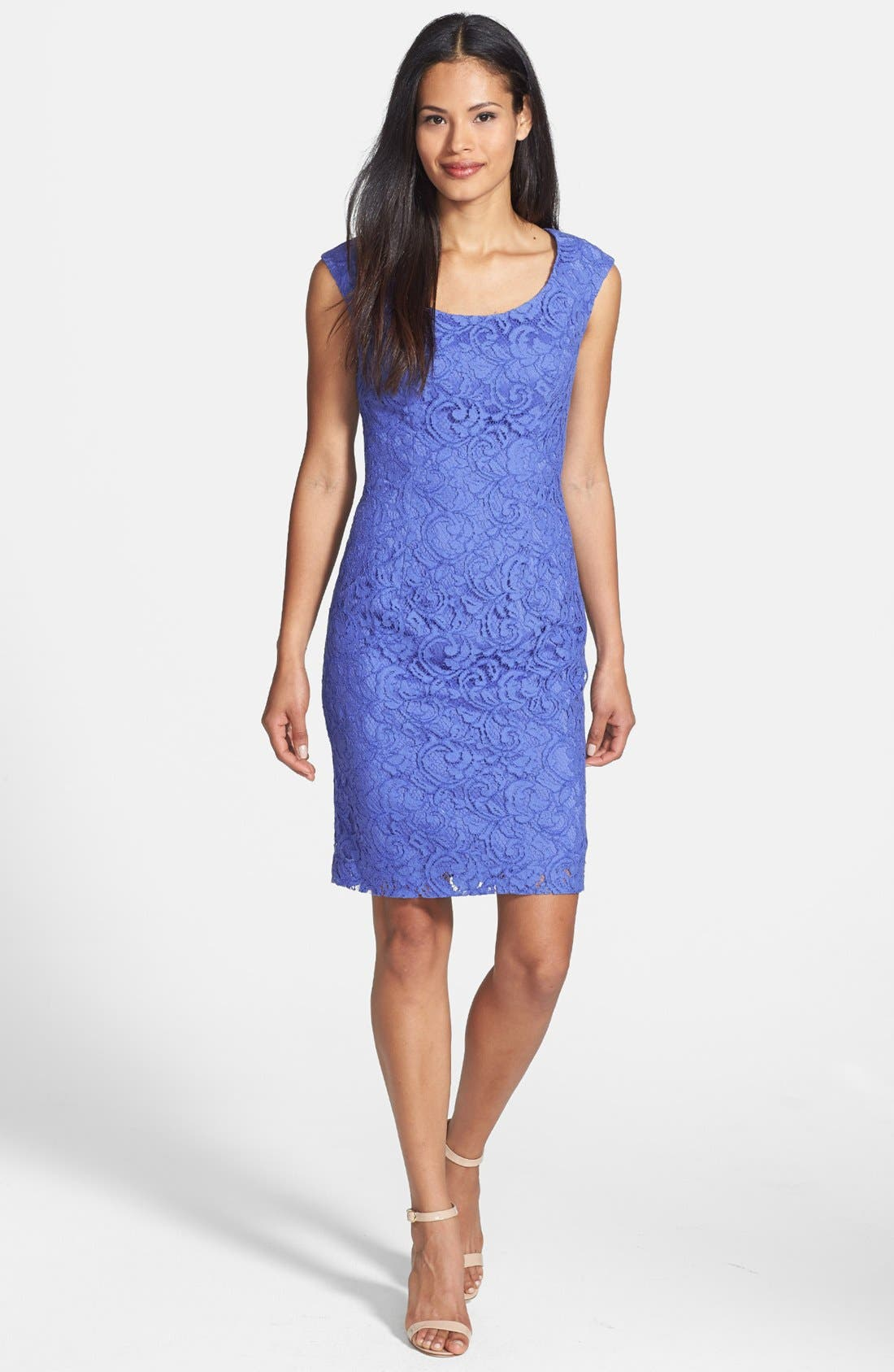 Alternate Image 3  - Adrianna Papell Embroidered Lace Overlay Sheath Dress (Regular & Petite)