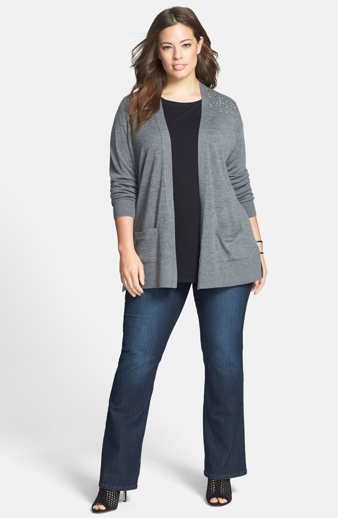Alternate Image 4  - NYDJ 'Barbara' Embellished Pocket Stretch Bootcut Jeans (Burbank) (Plus Size)