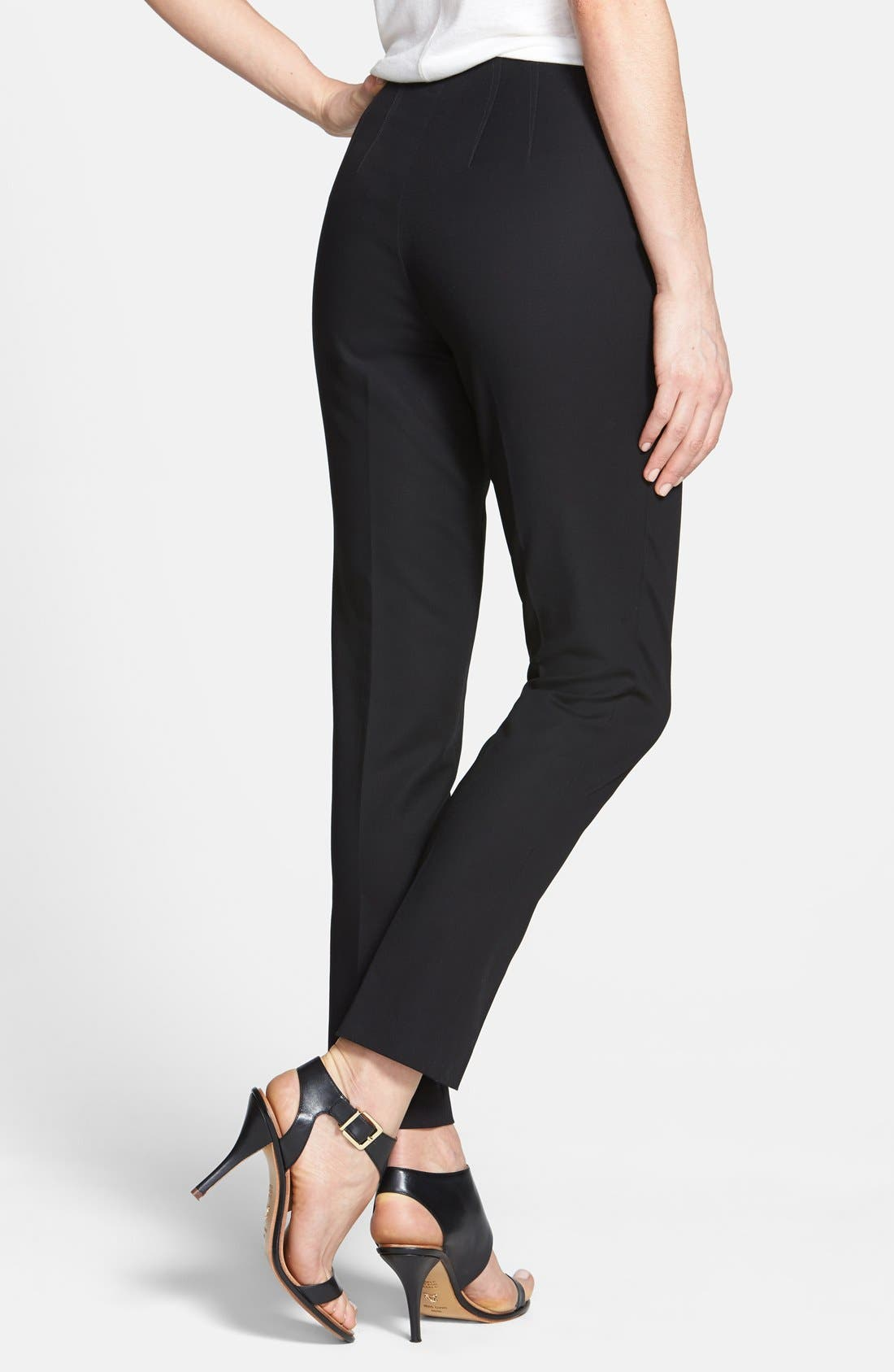 Alternate Image 2  - Vince Camuto Side Zip Double Weave Stretch Cotton Pants (Regular & Petite)