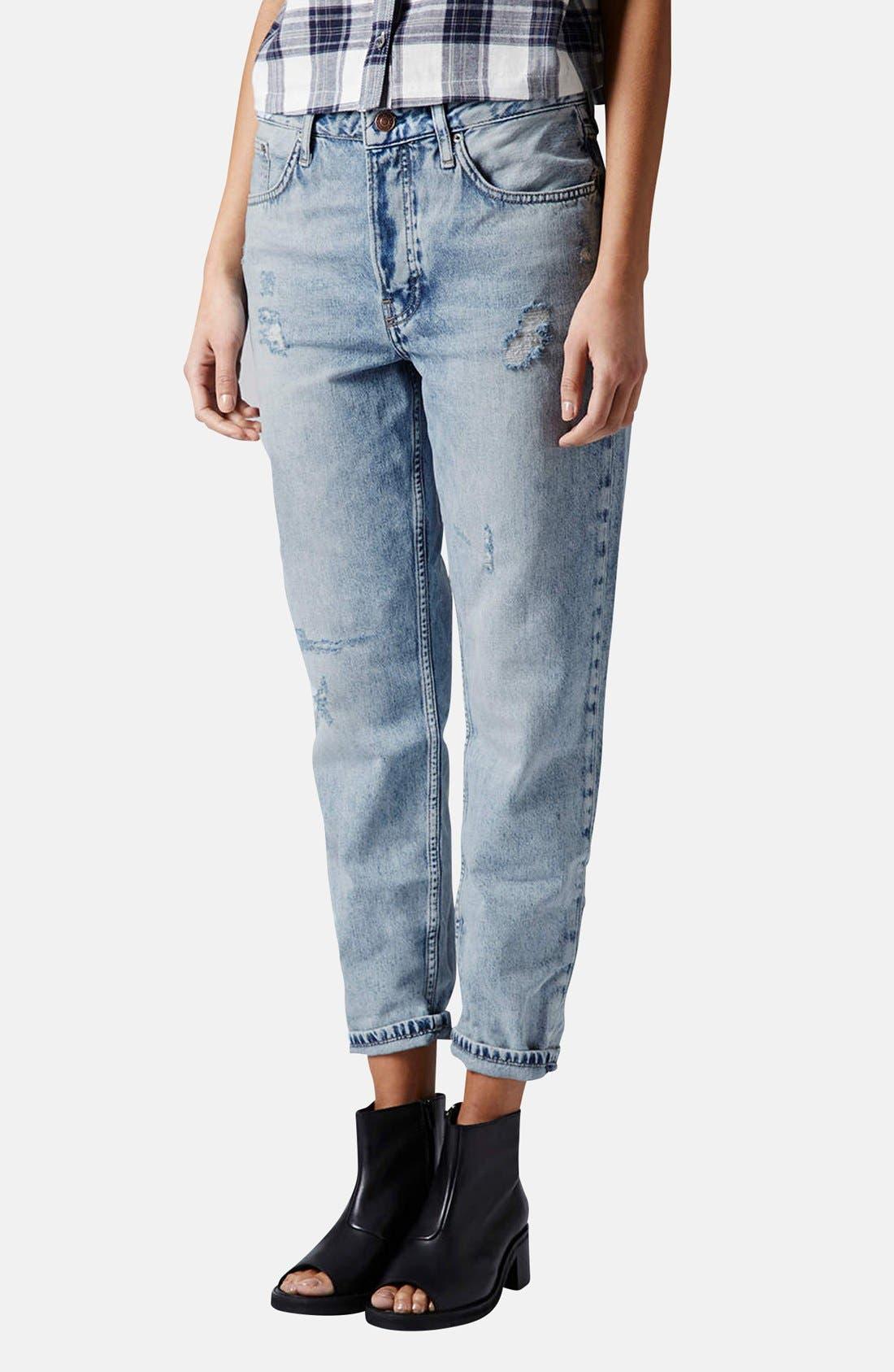 Alternate Image 1 Selected - Topshop 'Hayden' Destroyed Boyfriend Jeans (Light)